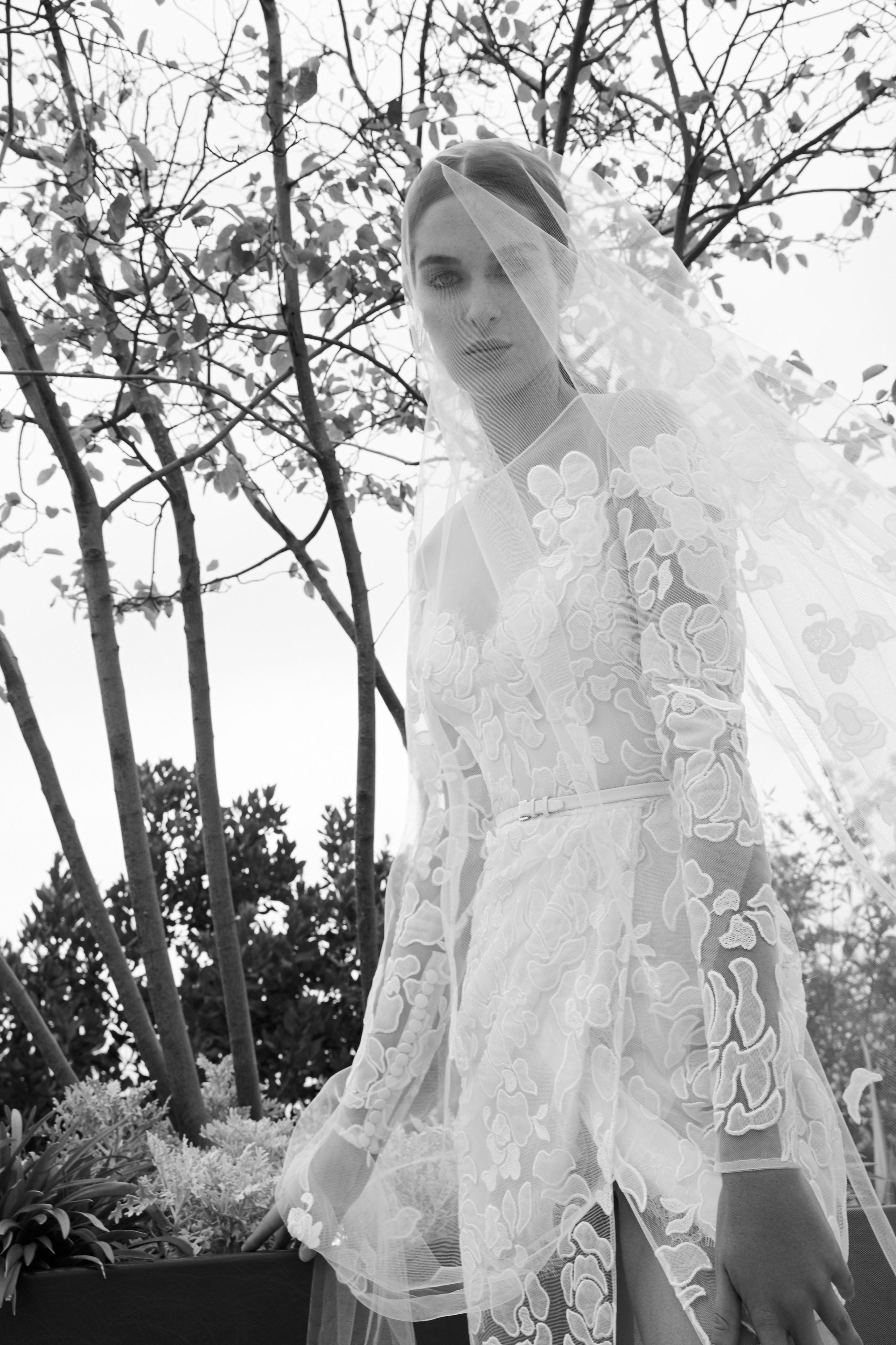 elie saab fall 2019 illusion high neckline floral applique wedding dress