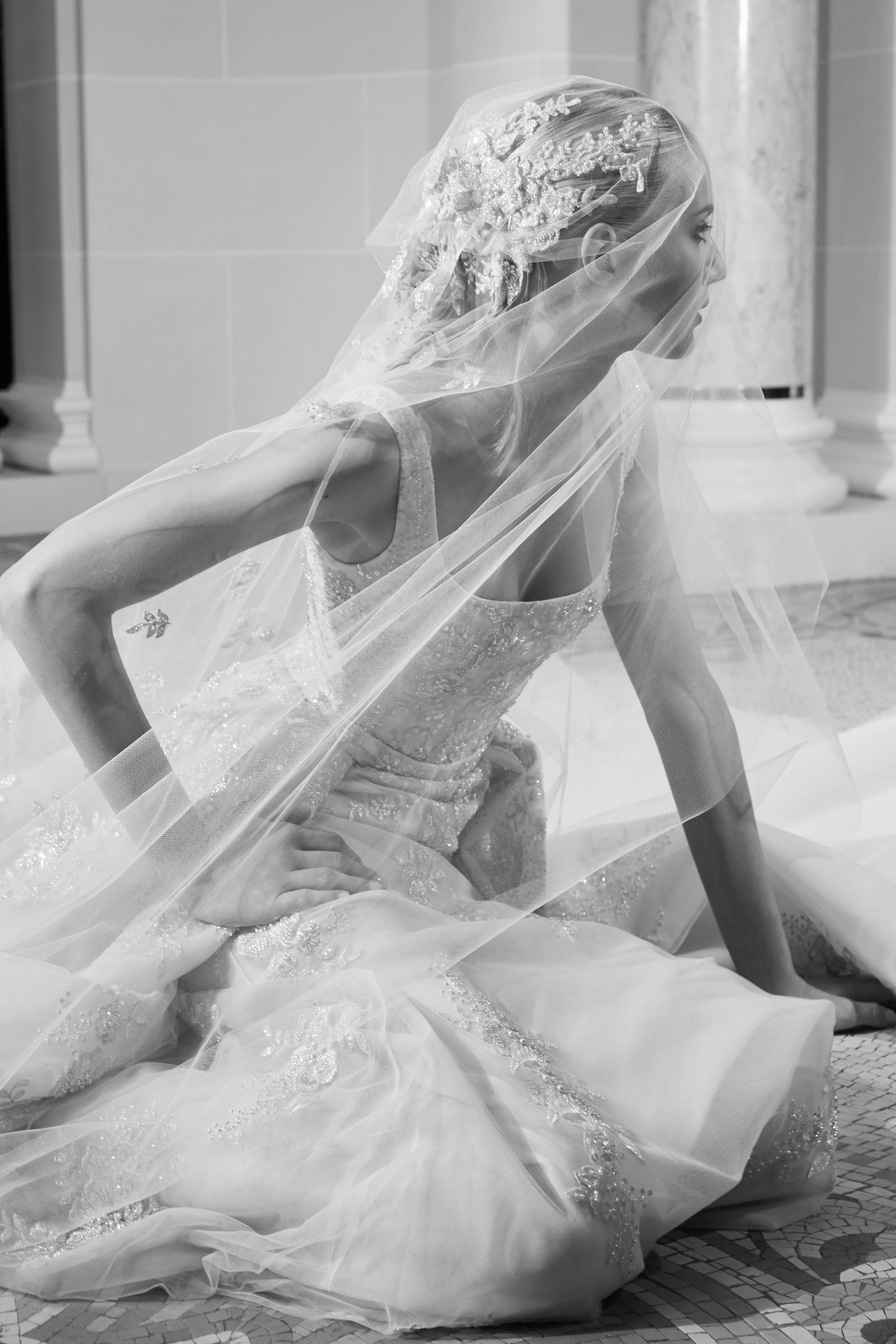 elie saab fall 2019 floral applique glitter wedding dress