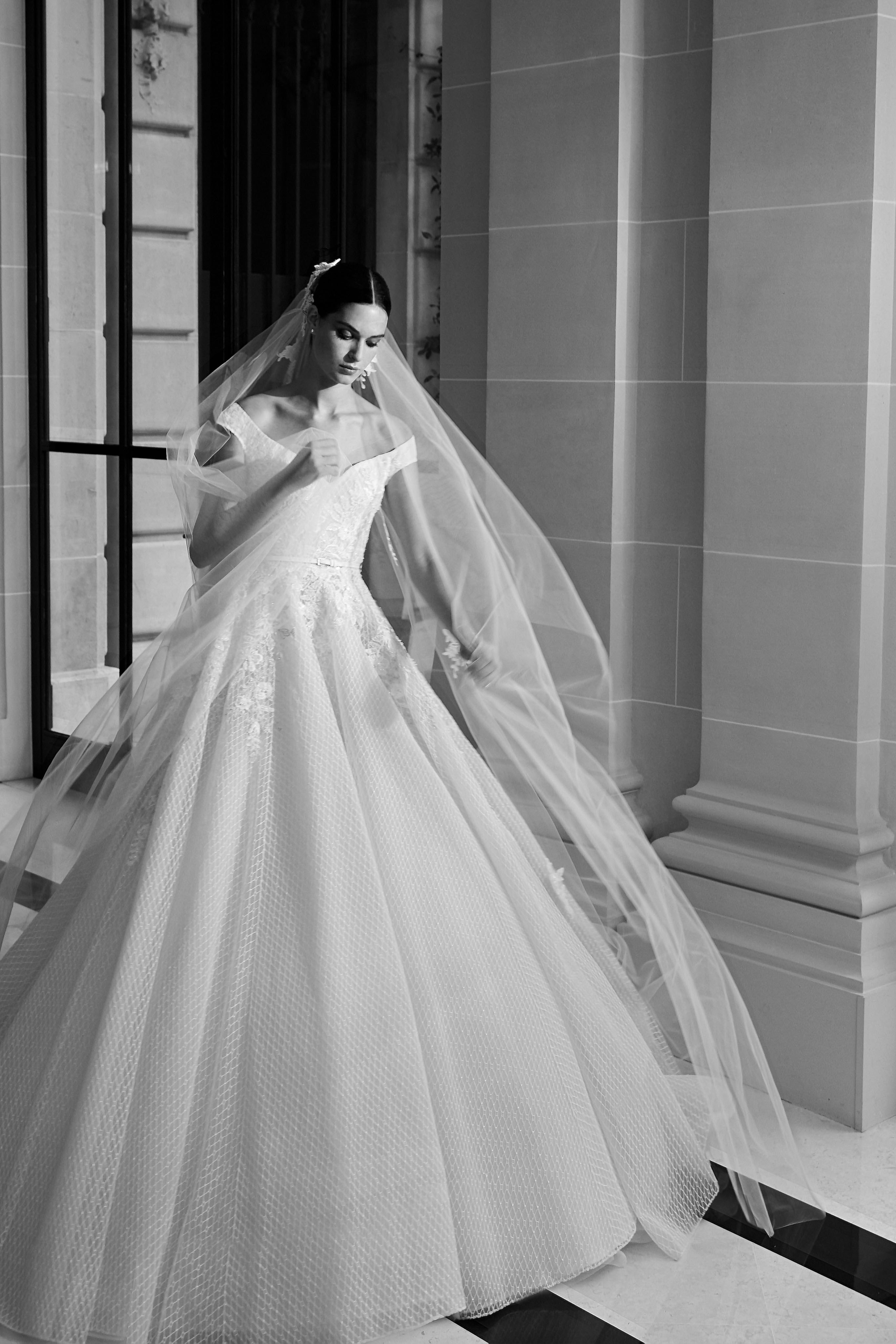 elie saab fall 2019 off the shoulder ball gown wedding dress