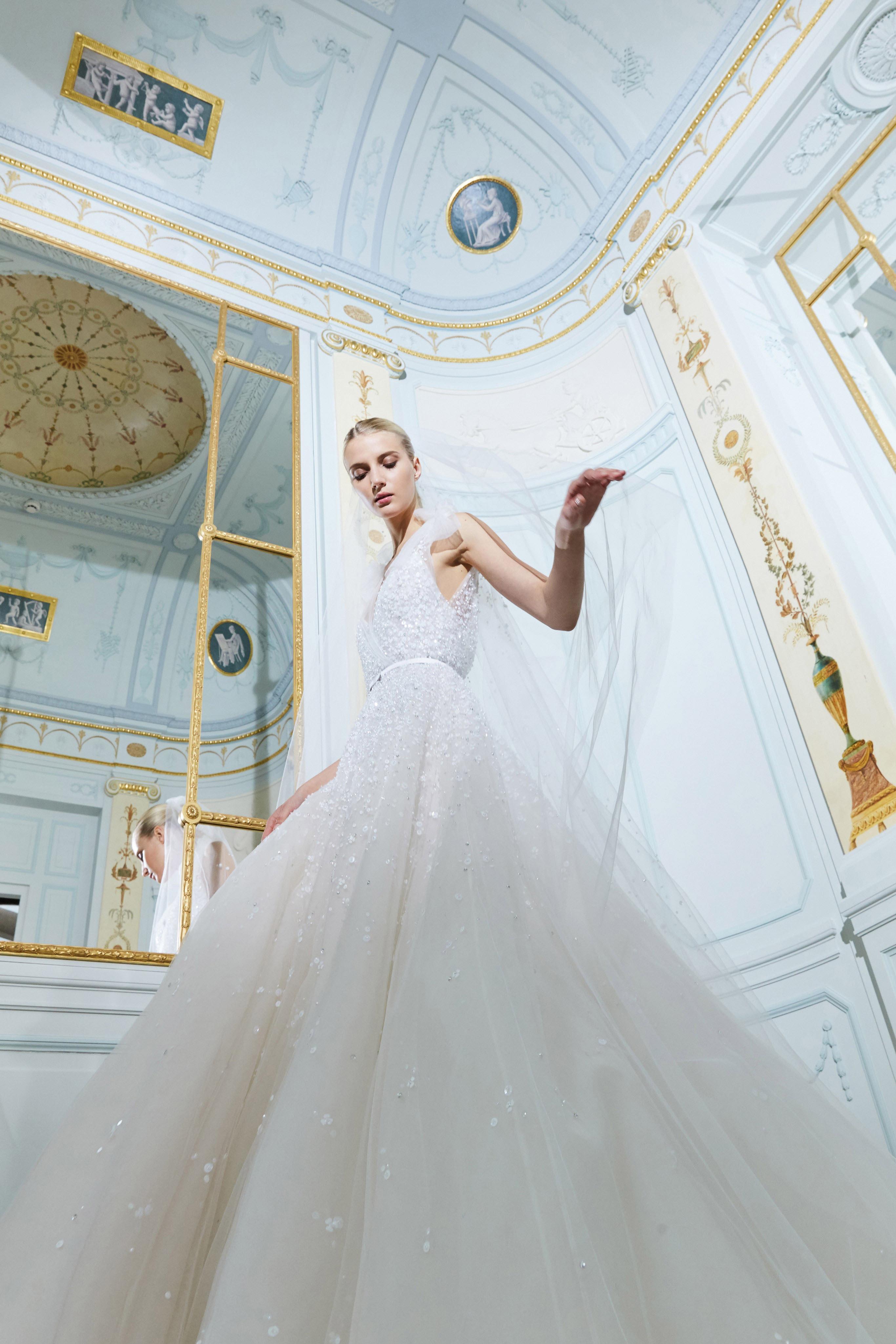 elie saab fall 2019 sheath high neck wedding dress