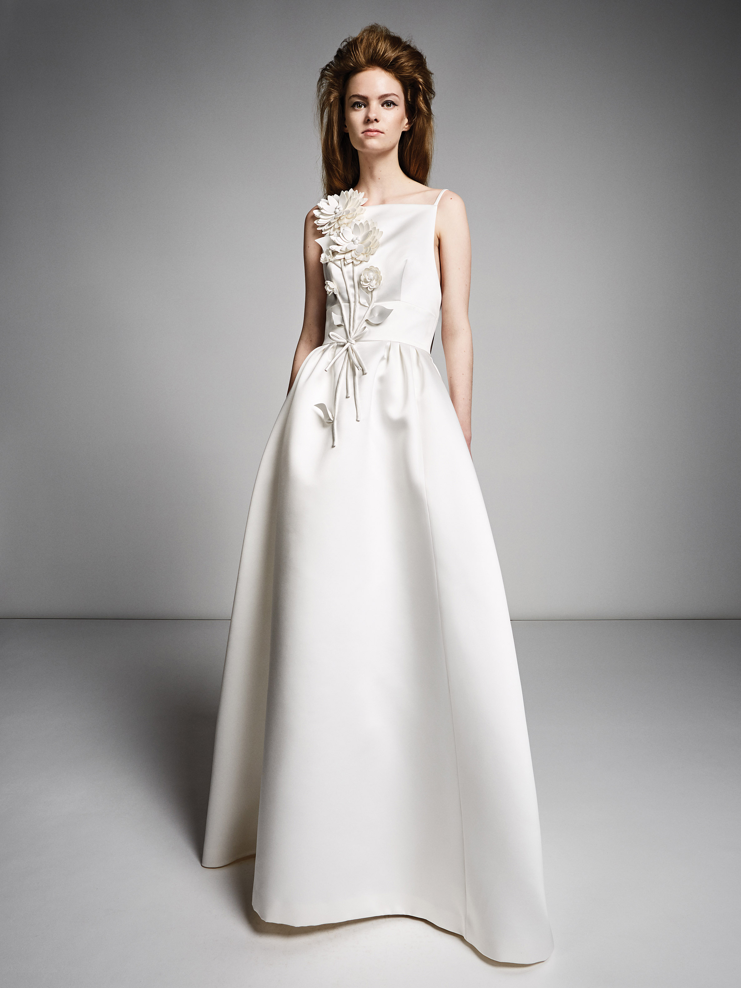 viktor rolf marriage fall 2019 spaghetti strap square neckline a-line gown with floral applique