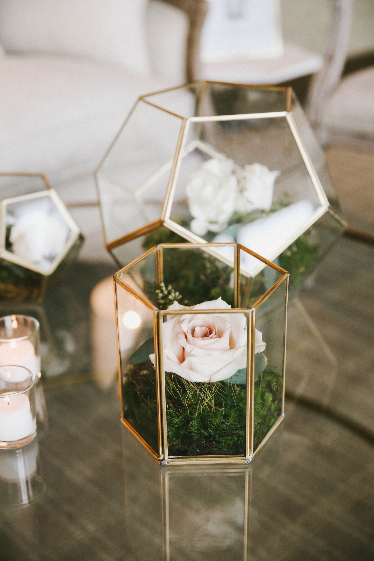 after party decor geometric vases