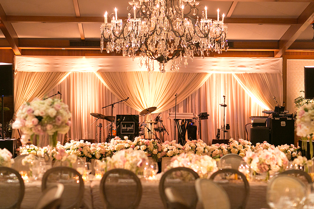 after party decor stage with draped curtain