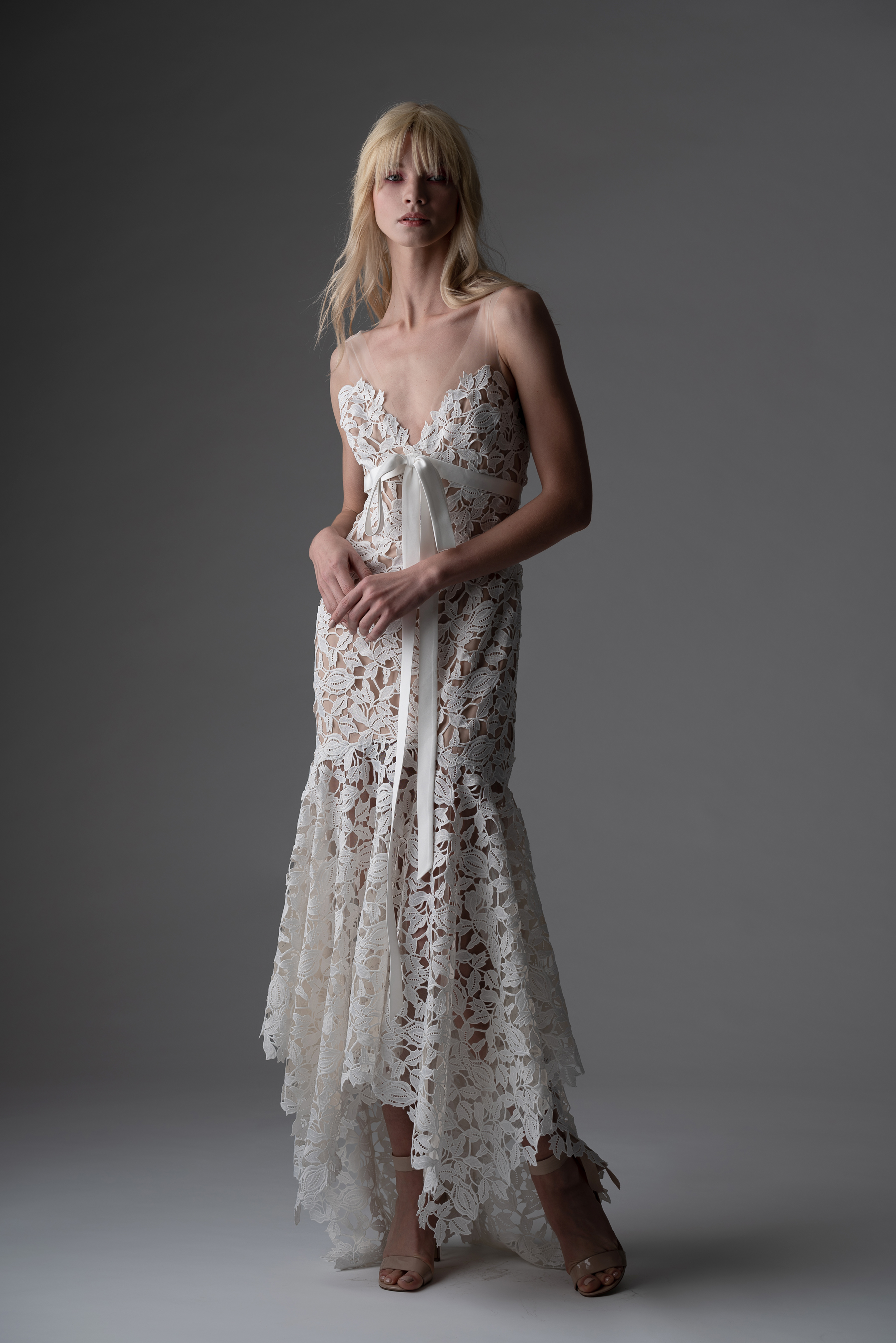 alyne rita vinieris fall 2019 lace high-low sheath with with bow