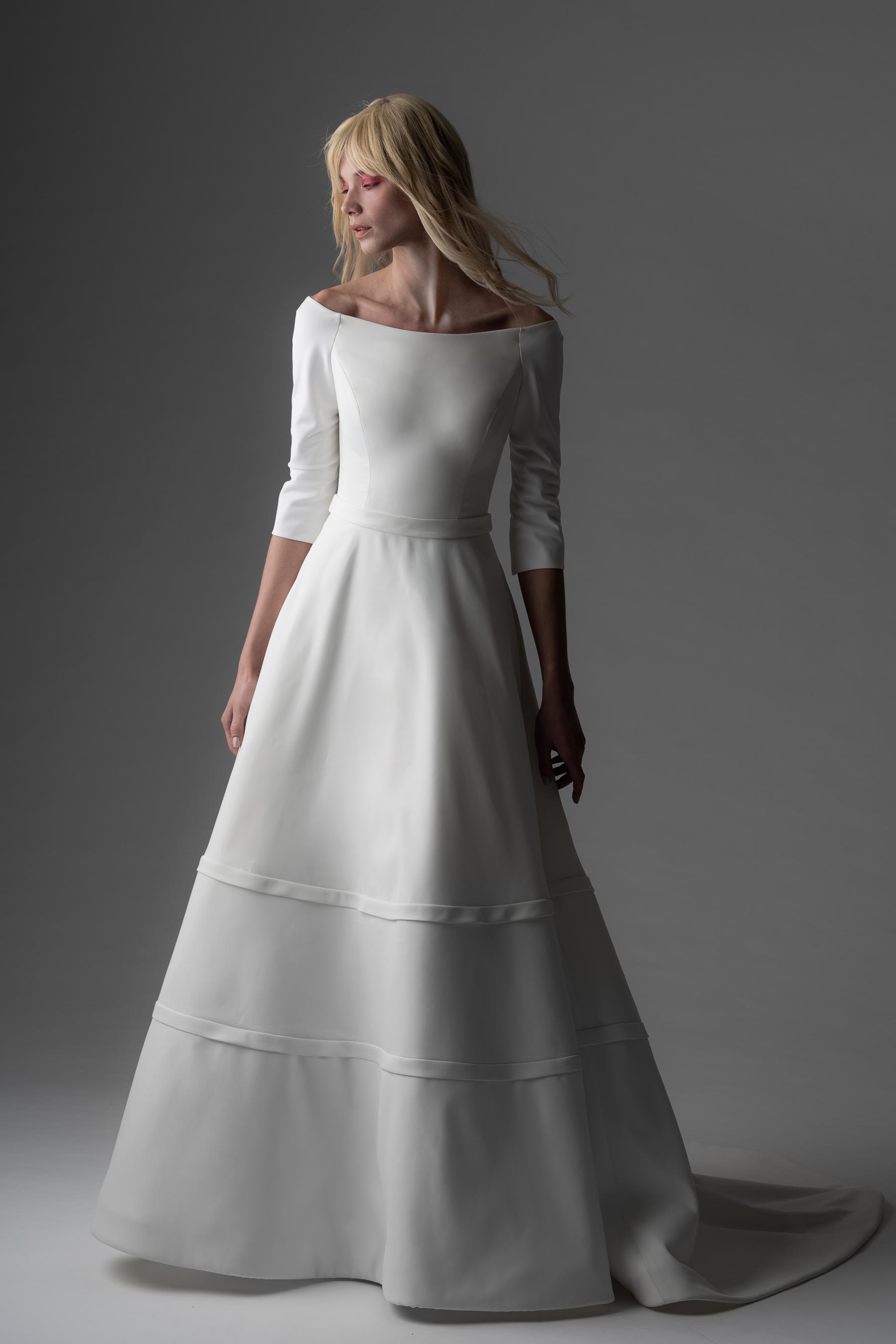 alyne rita vinieris fall 2019 boatneck three-quarter sleeve a-line gown
