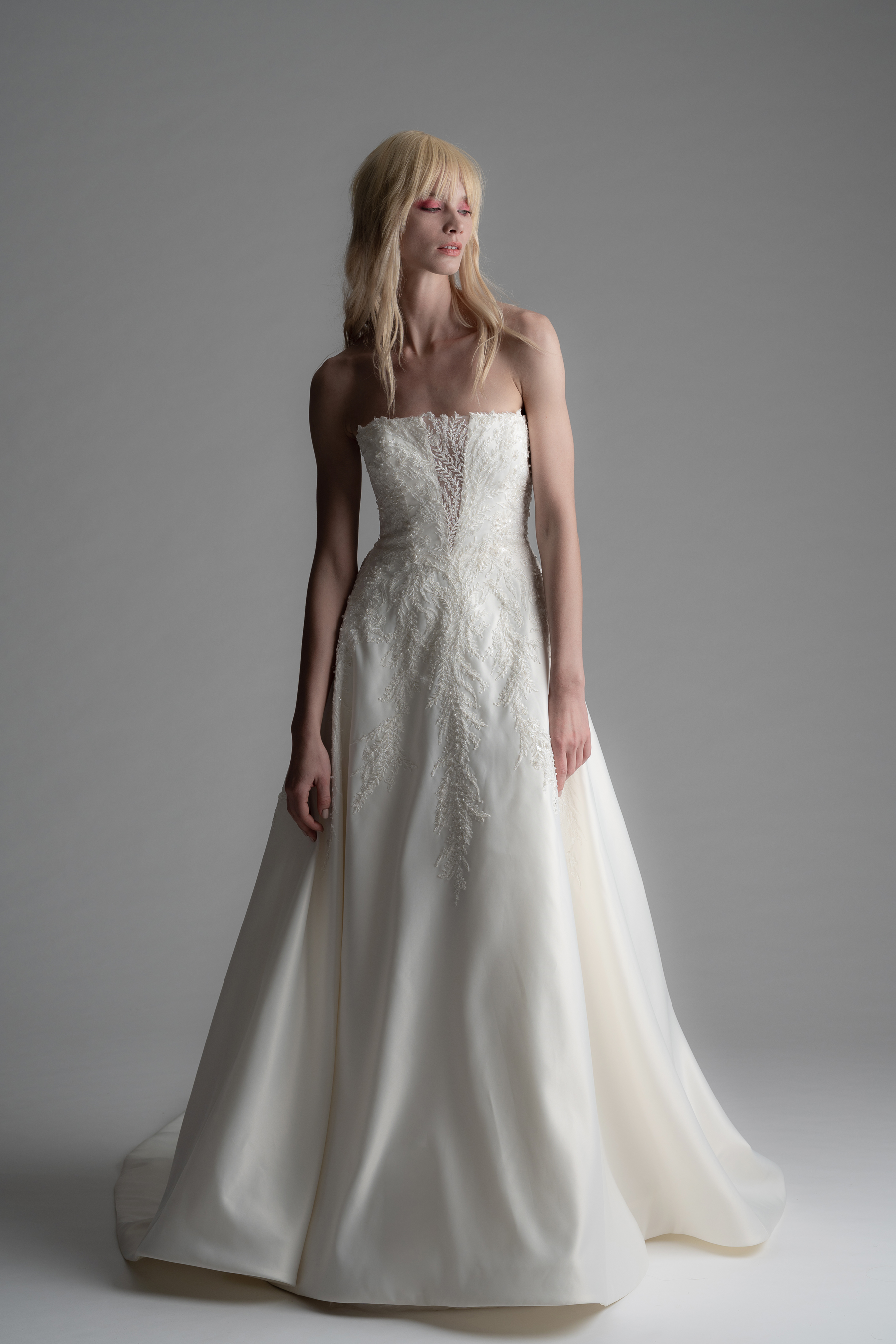 alyne rita vinieris fall 2019 strapless a-line gown with beaded lace bodice