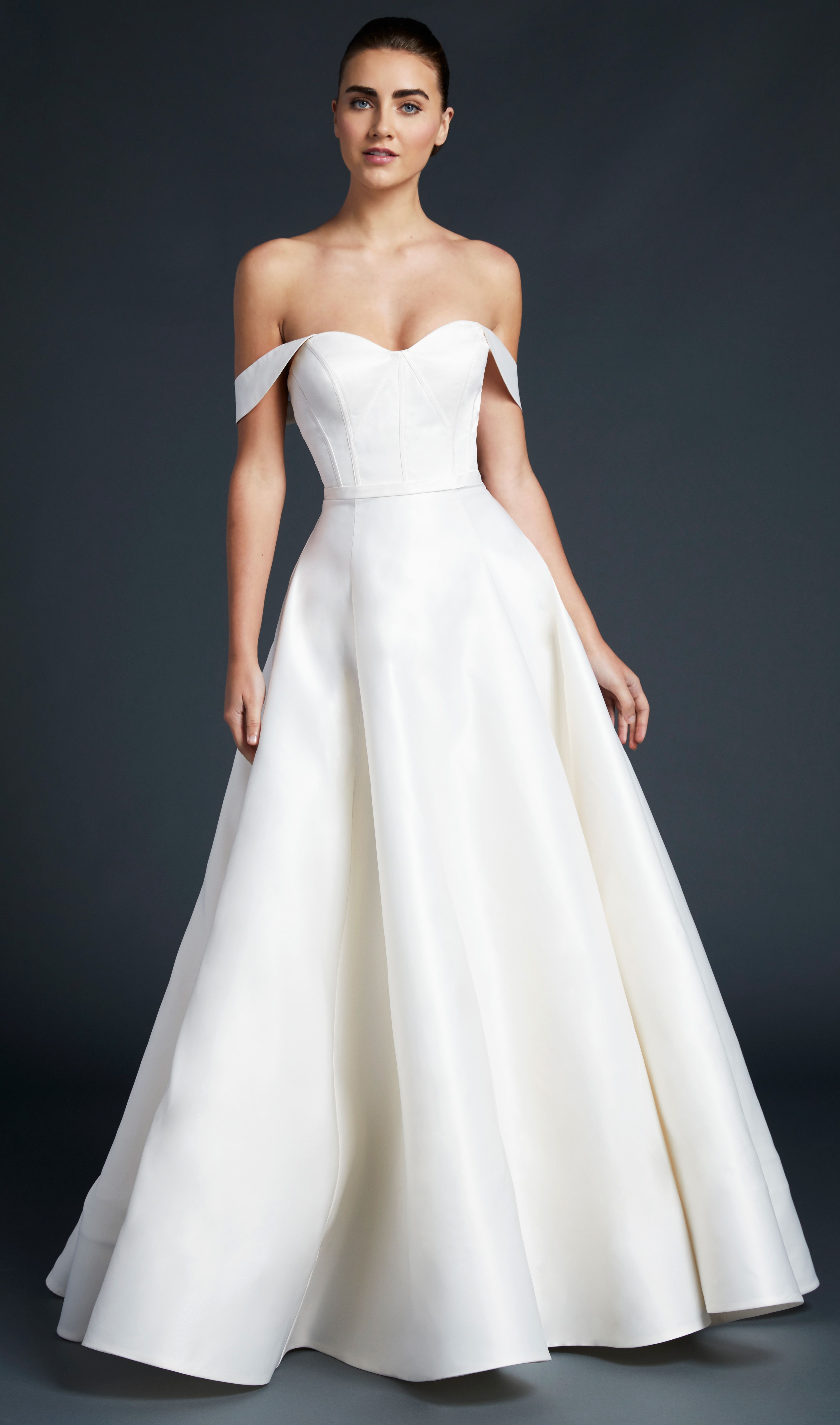 blue willow wedding dress off the shoulder sweetheart a-line