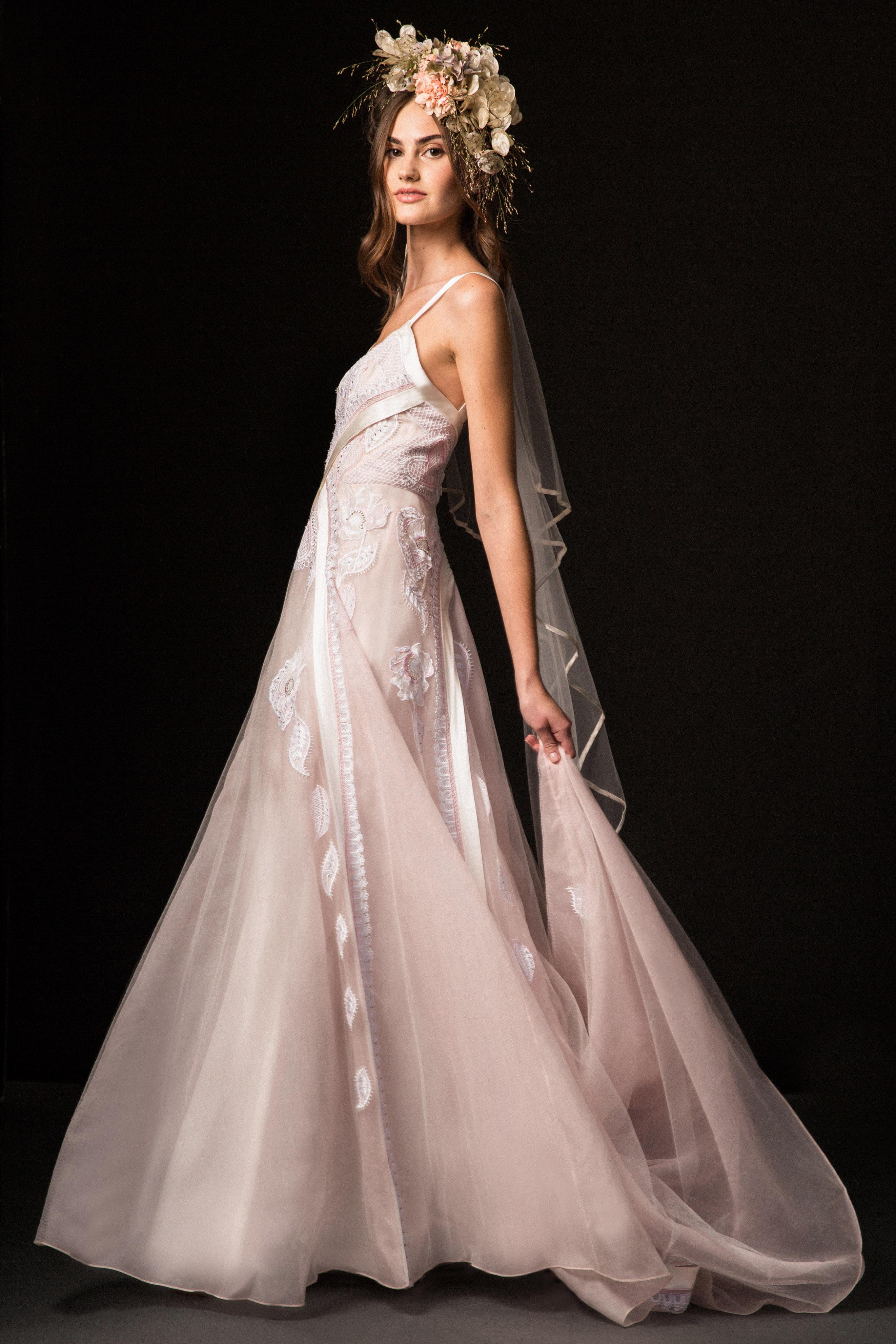 temperley fall 2019 spaghetti strap a-line pink wedding dress