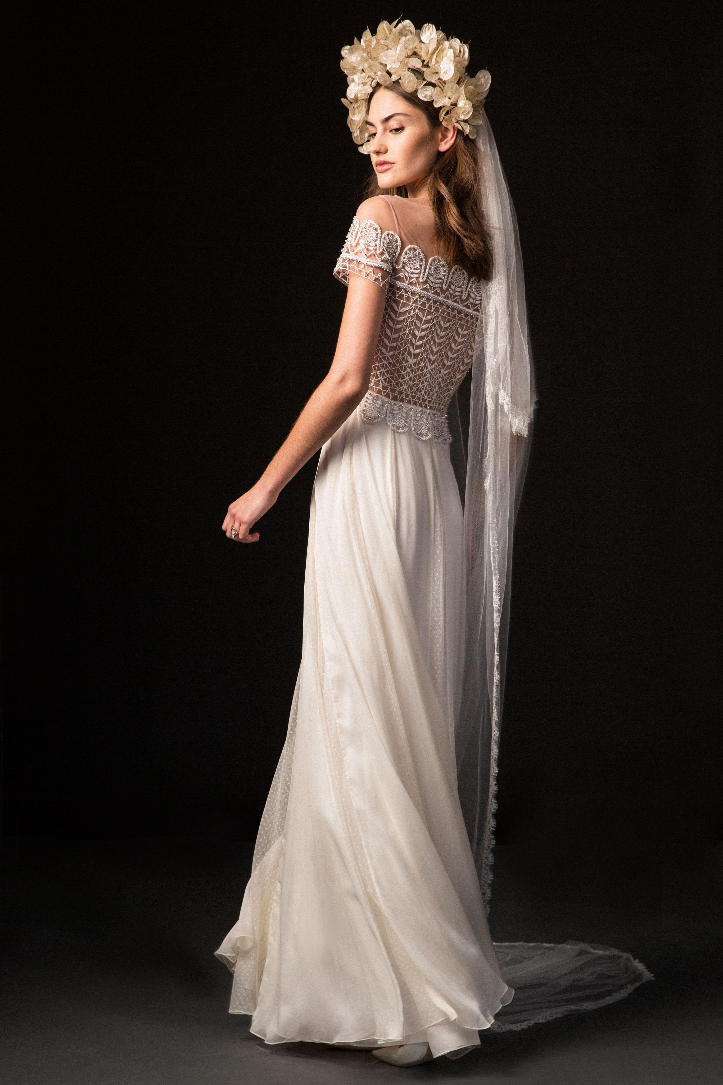 temperley fall 2019 spaghetti strap over the shoulder sheath wedding dress
