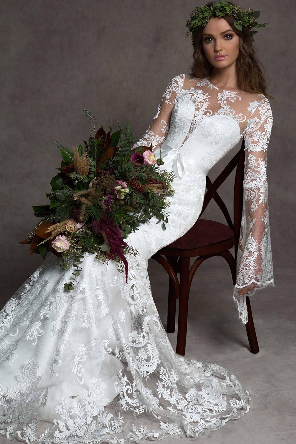 romona ny fall 2019 mermaid plunging n neck illusion high neck flutter long sleeves lace overlay bow belt