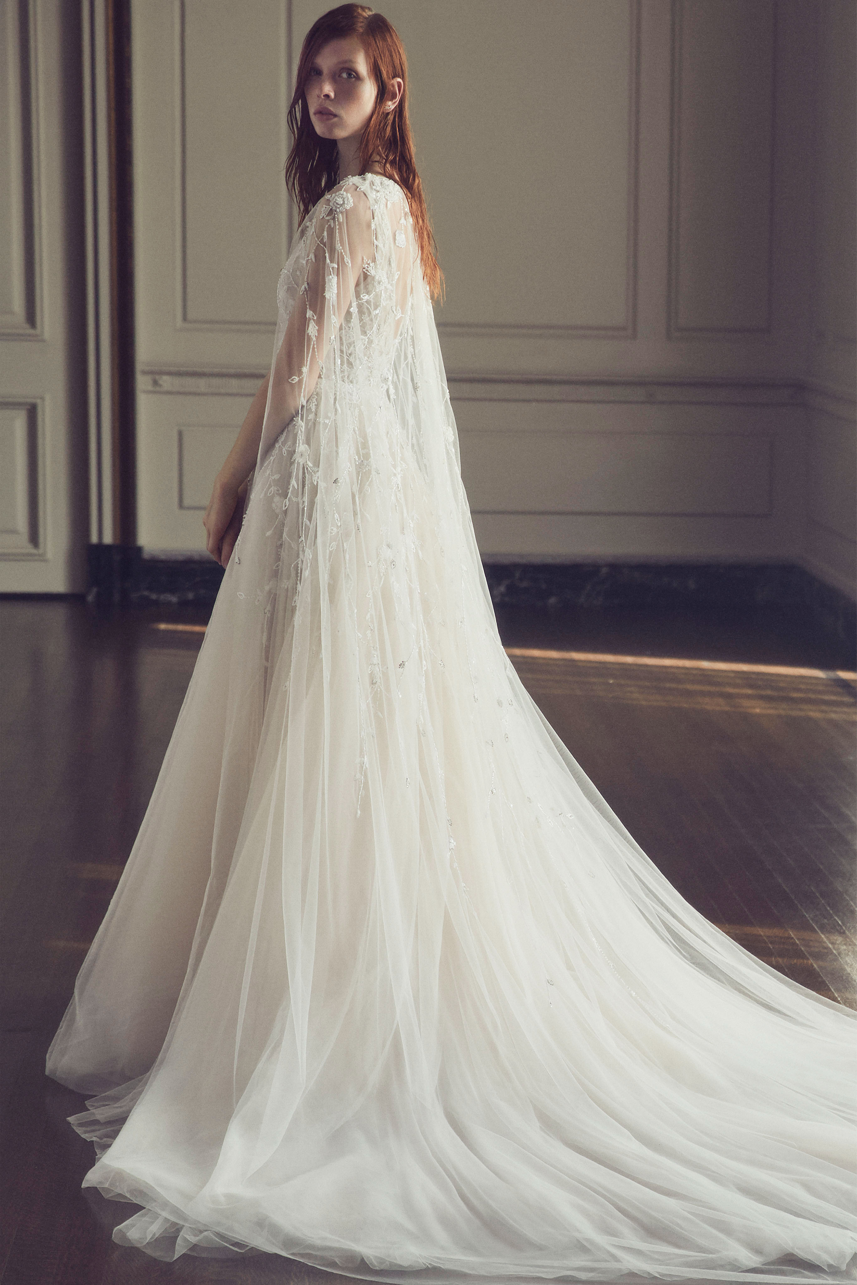 monique lhuillier fall 2019 a-line gown with sheer cape