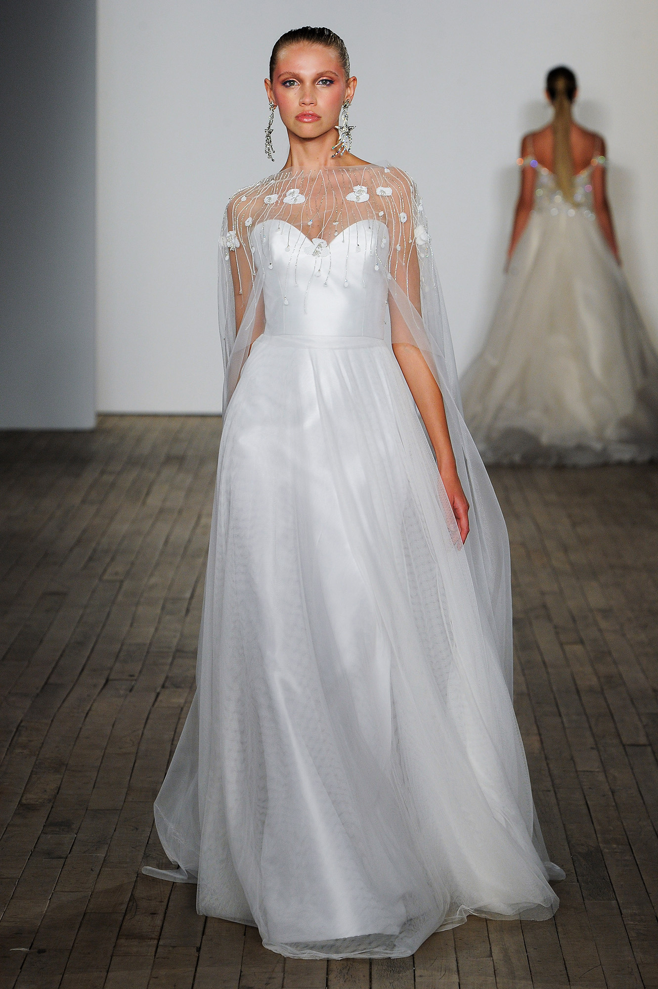 lazaro fall 2019 sheath illusion high neckline wedding dress