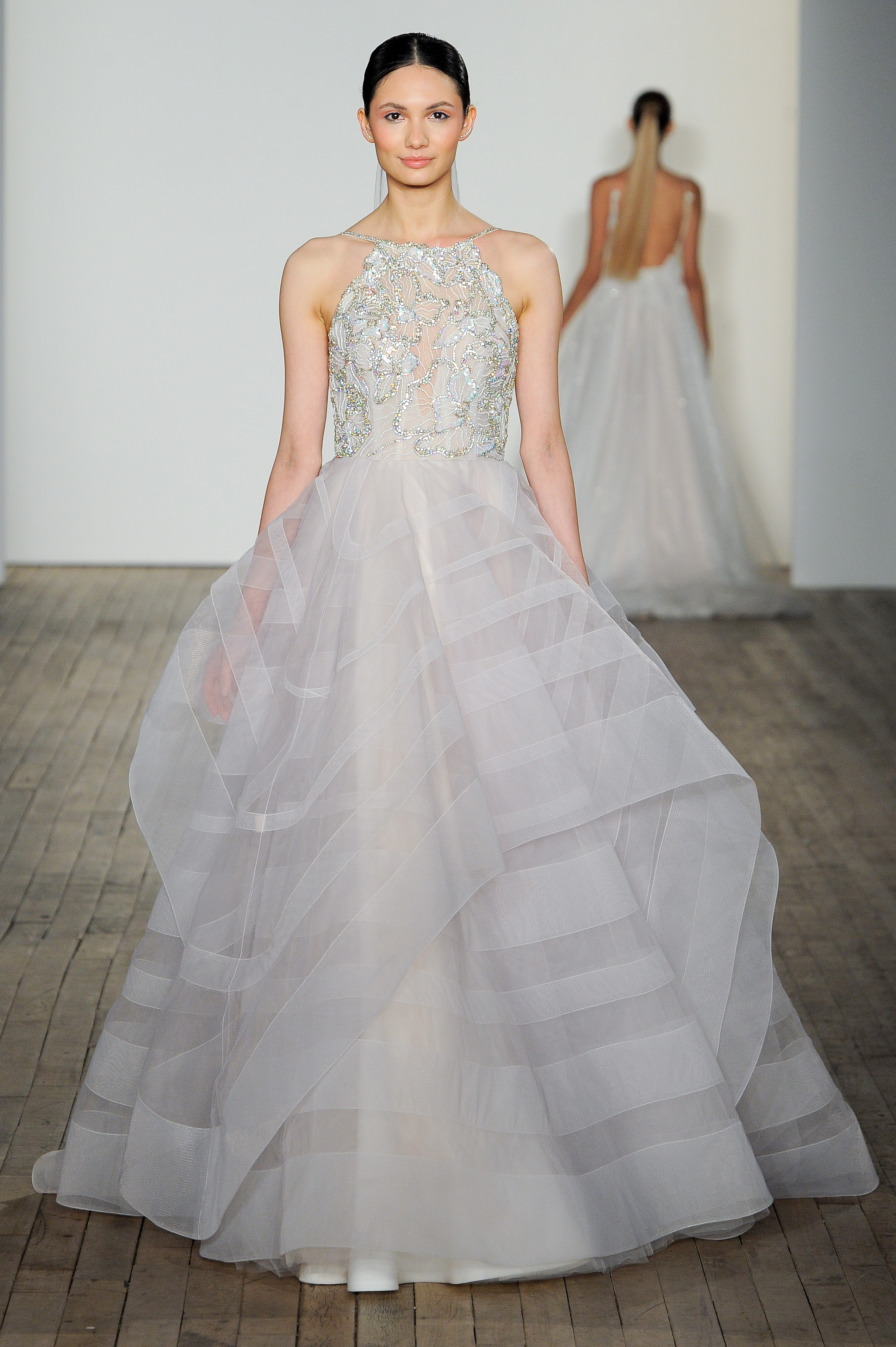 haley paige fall 2019 high neck sheath ball gown wedding dress