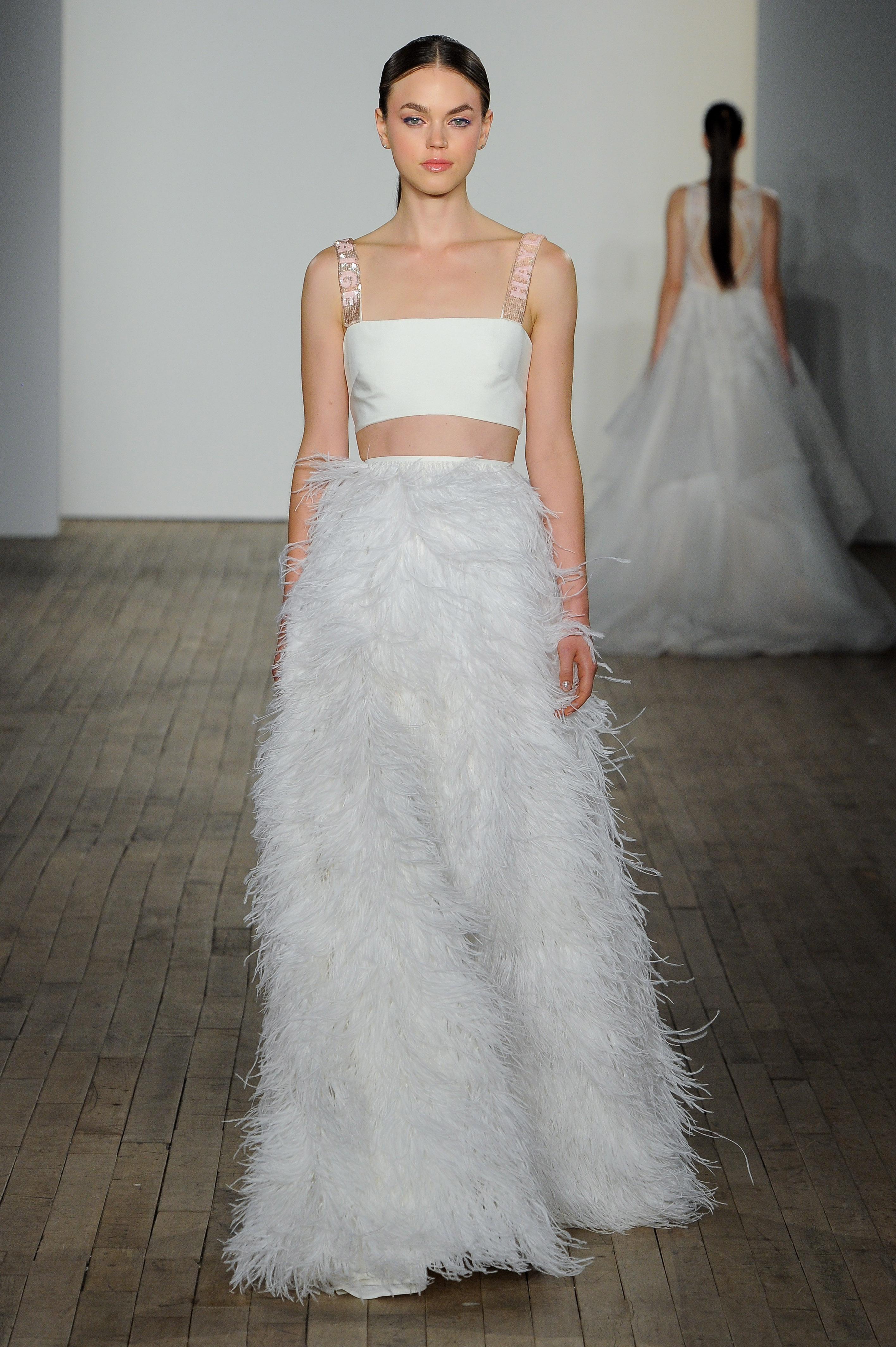 haley paige fall 2019 fringe pants wedding dress