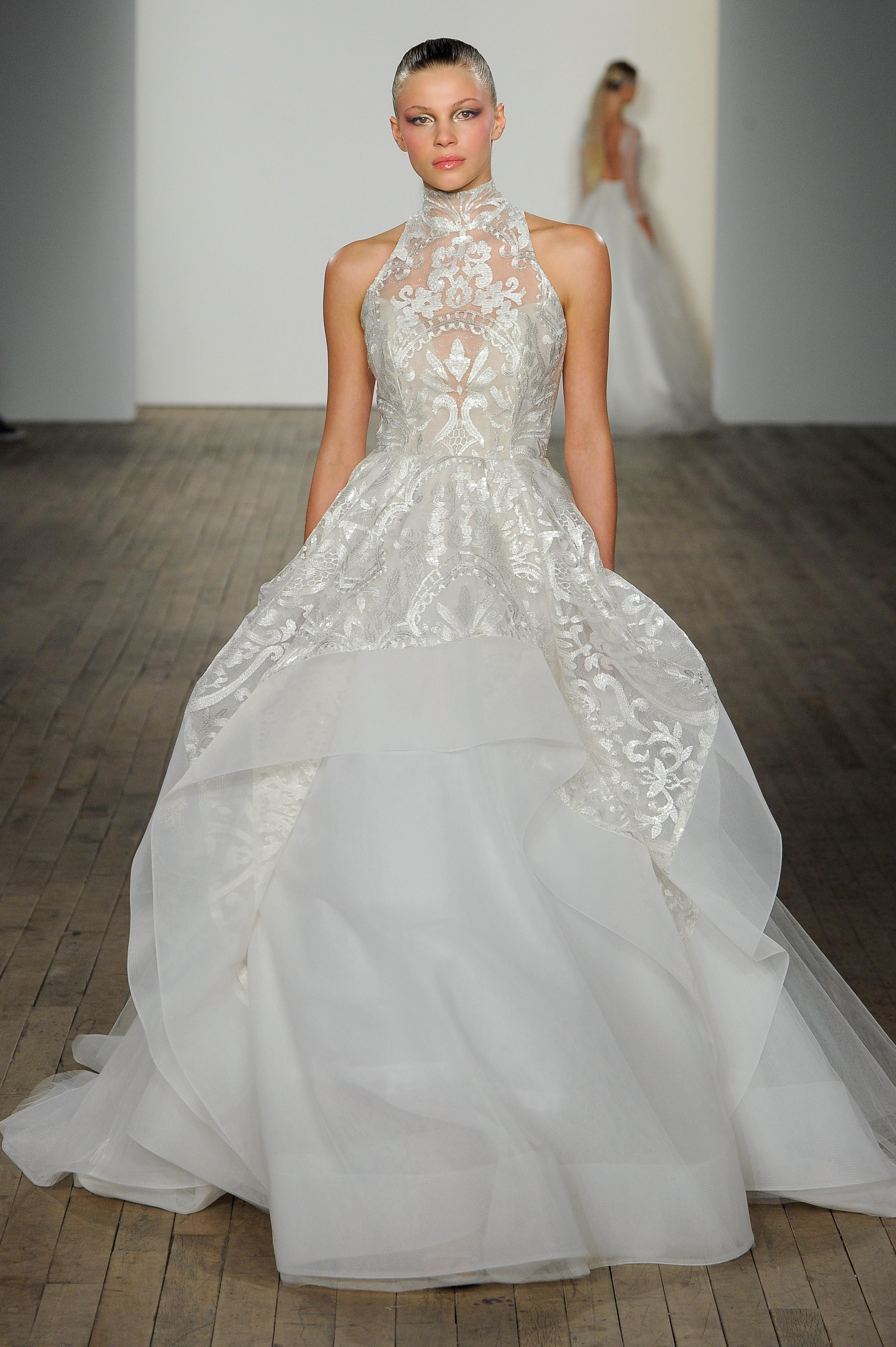 haley paige fall 2019 high neck overskirt wedding dress