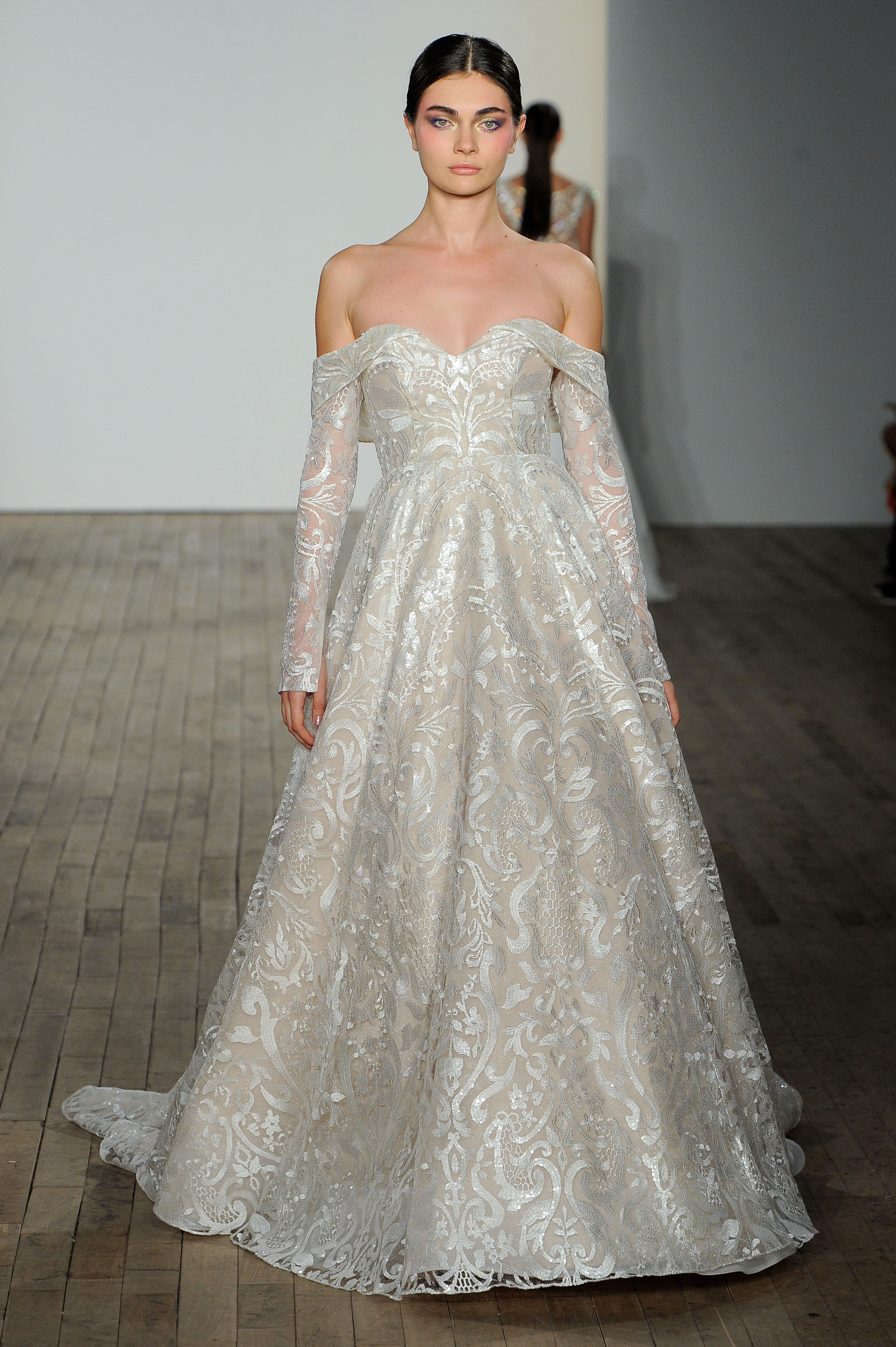haley paige fall 2019 over the shoulder long sleeve wedding dress