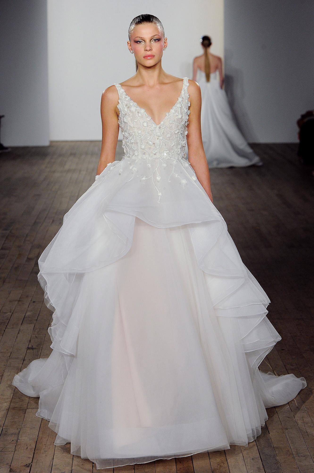 allison webb wedding dress embellished bodice v-neck ruffle high-low over skirt
