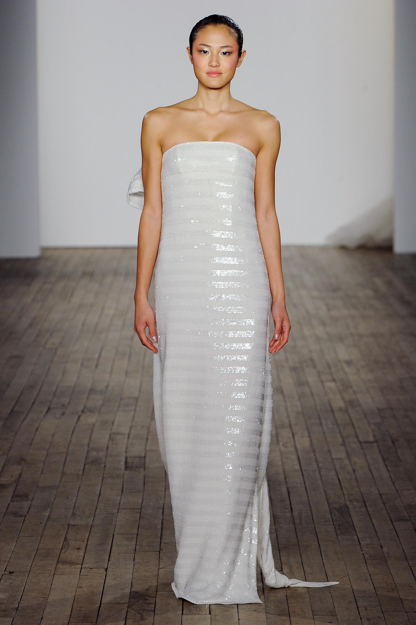 allison webb wedding dress sheath metallic stripes strapless