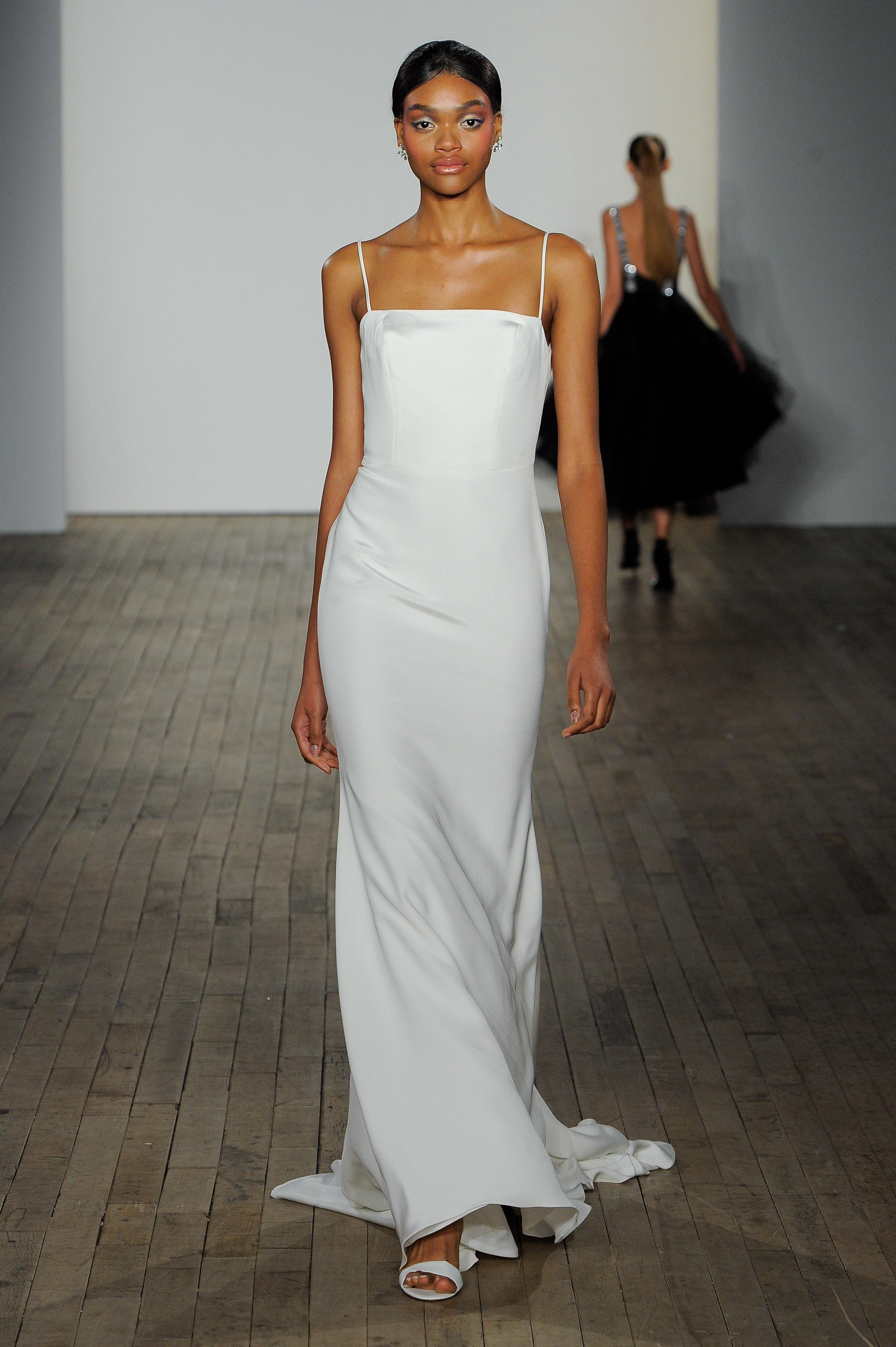 haley paige fall 2019 spaghetti strap minimalist wedding dress