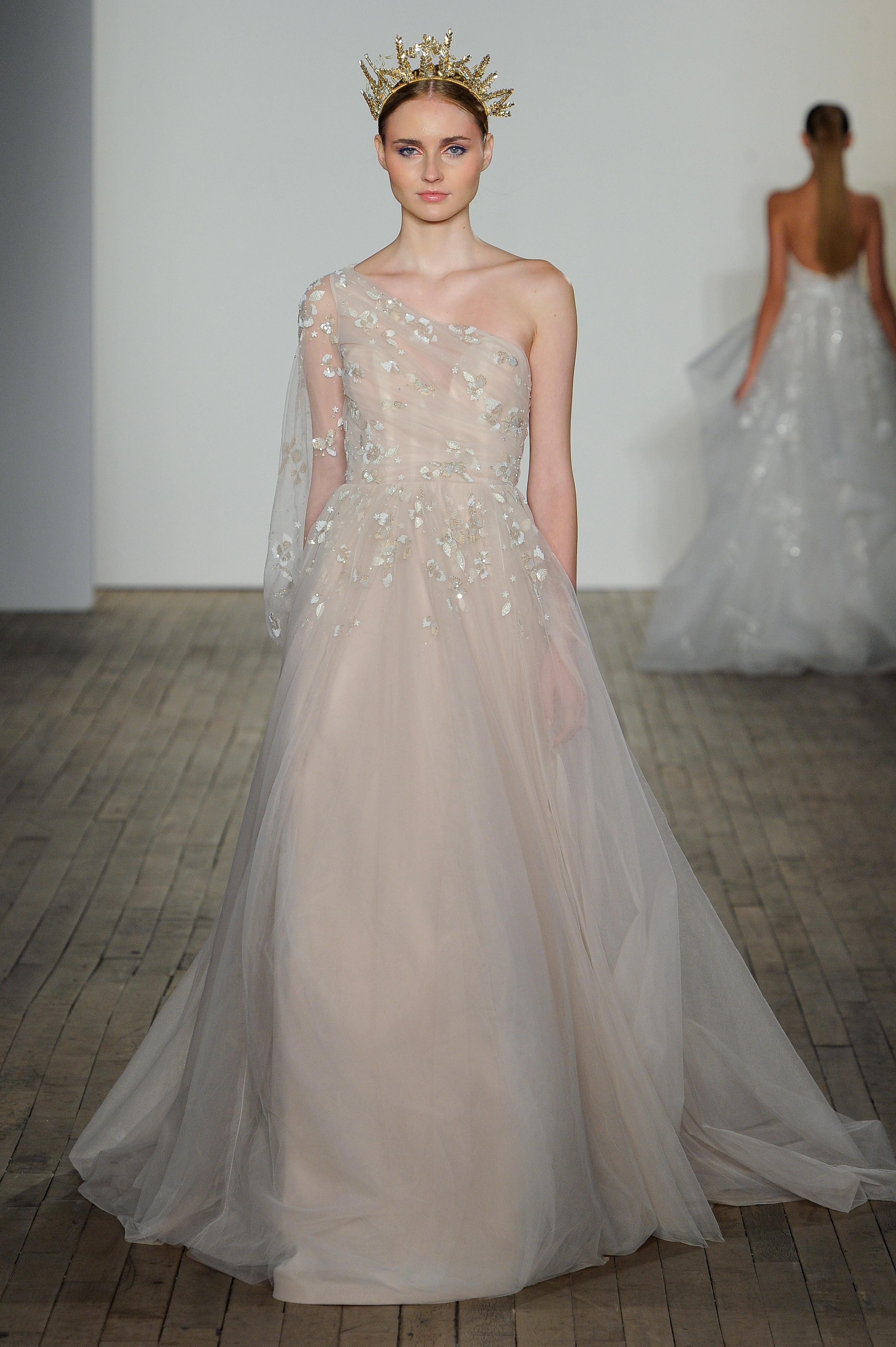 haley paige fall 2019 sheath a-line pink wedding dress