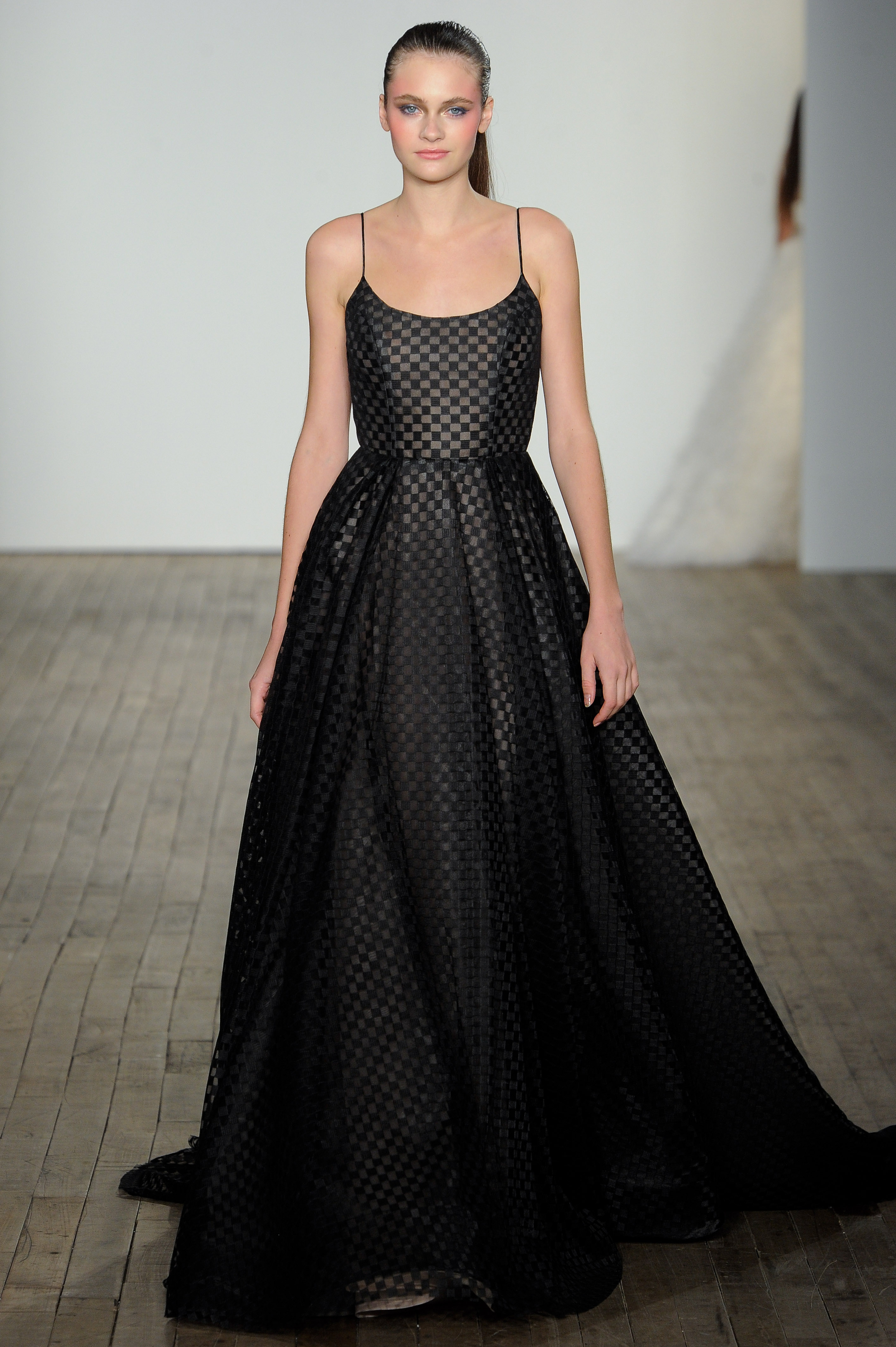 haley paige fall 2019 spaghetti strap a-line black wedding dress