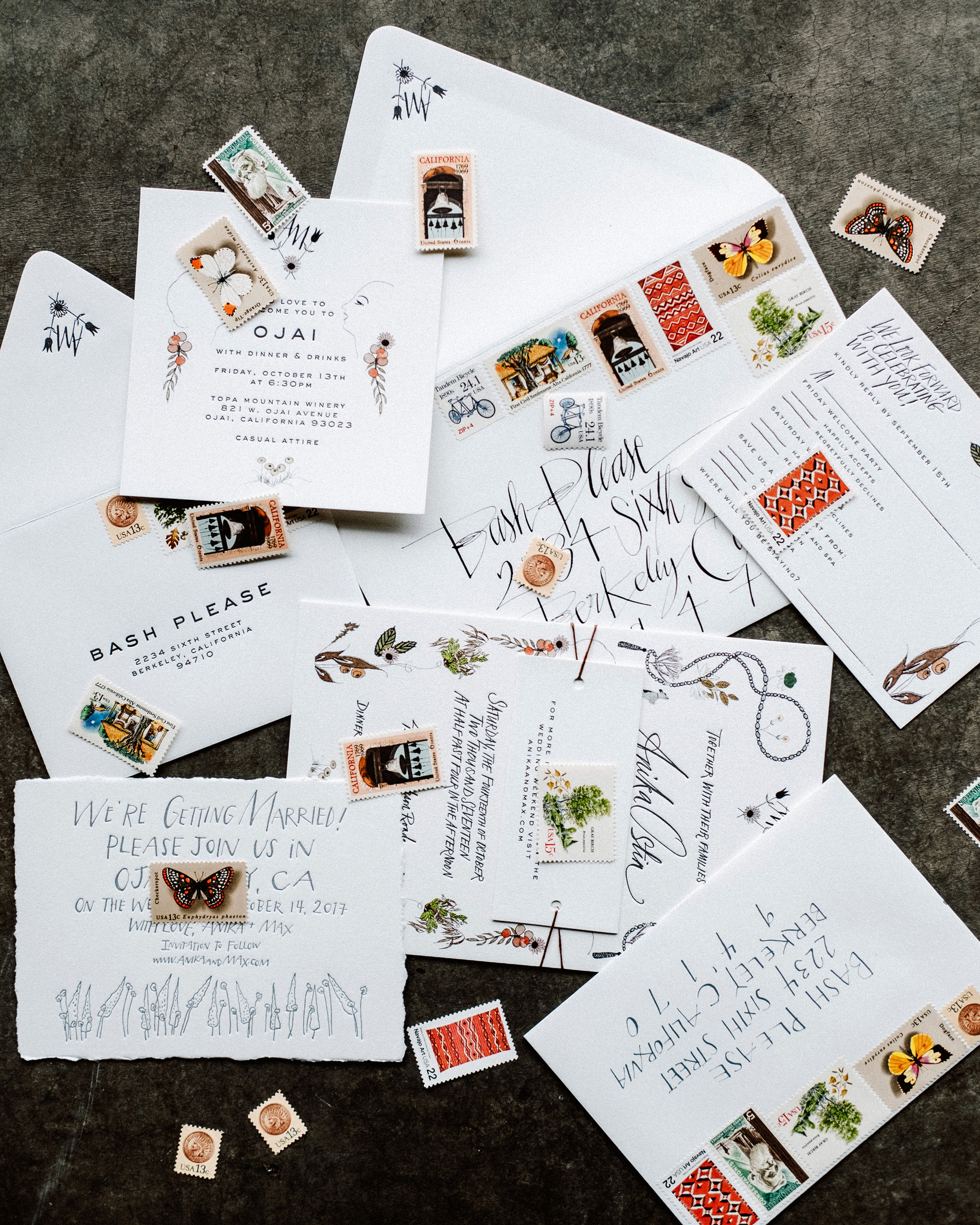 anika max wedding stationary suite with colorful stamps
