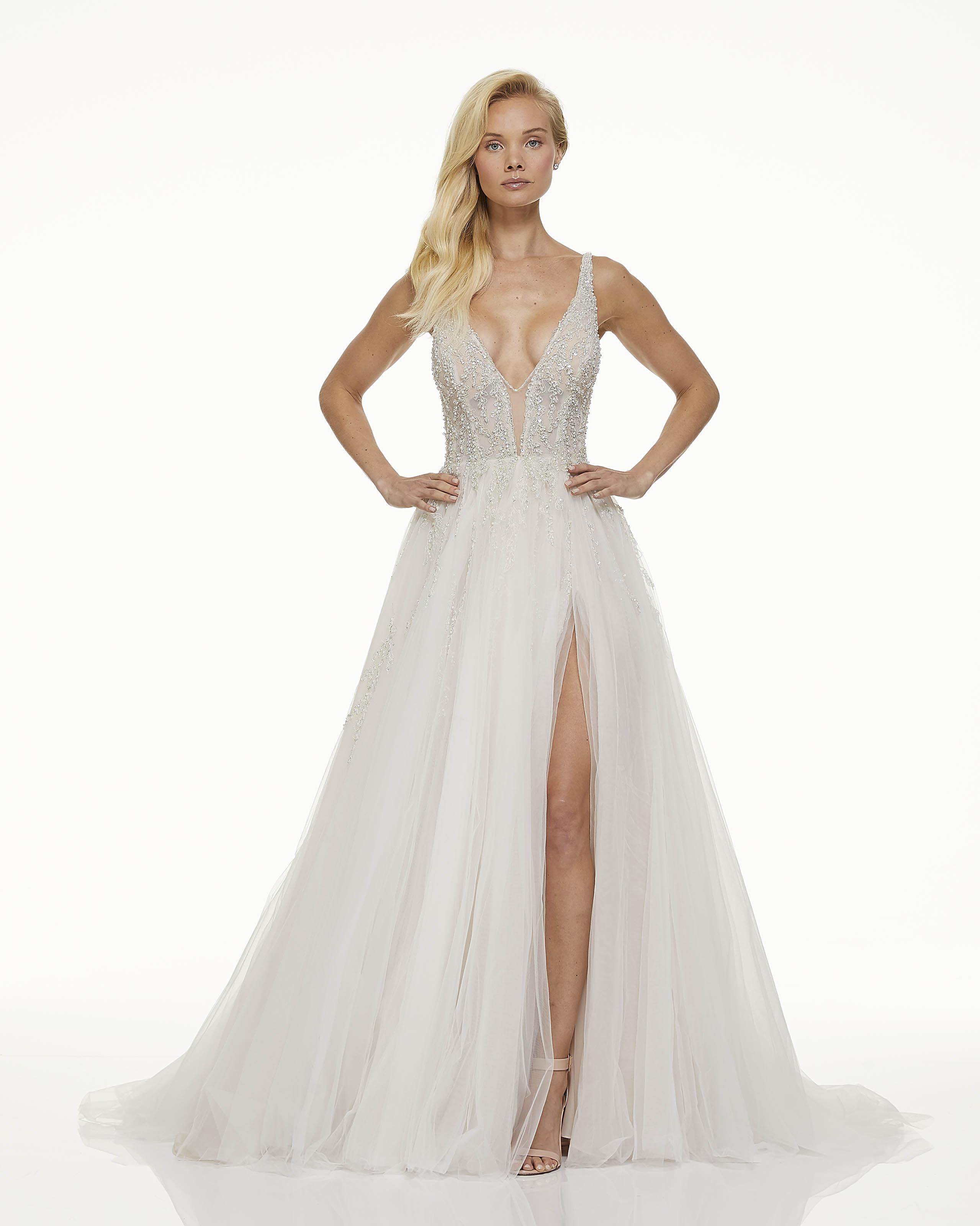 mark zunino fall 2019 ball gown high slit plunging v neck sleeveless glitter