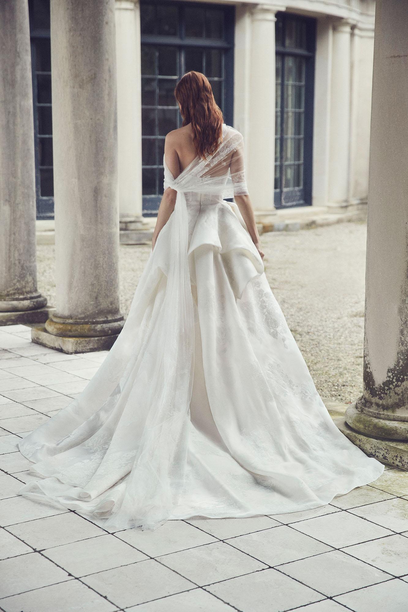monique lhuillier fall 2019 strapless tier ballgown