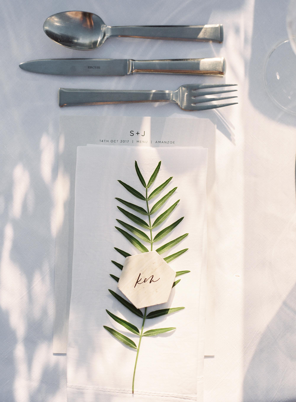 sze amanzoe wedding place setting greece elegant