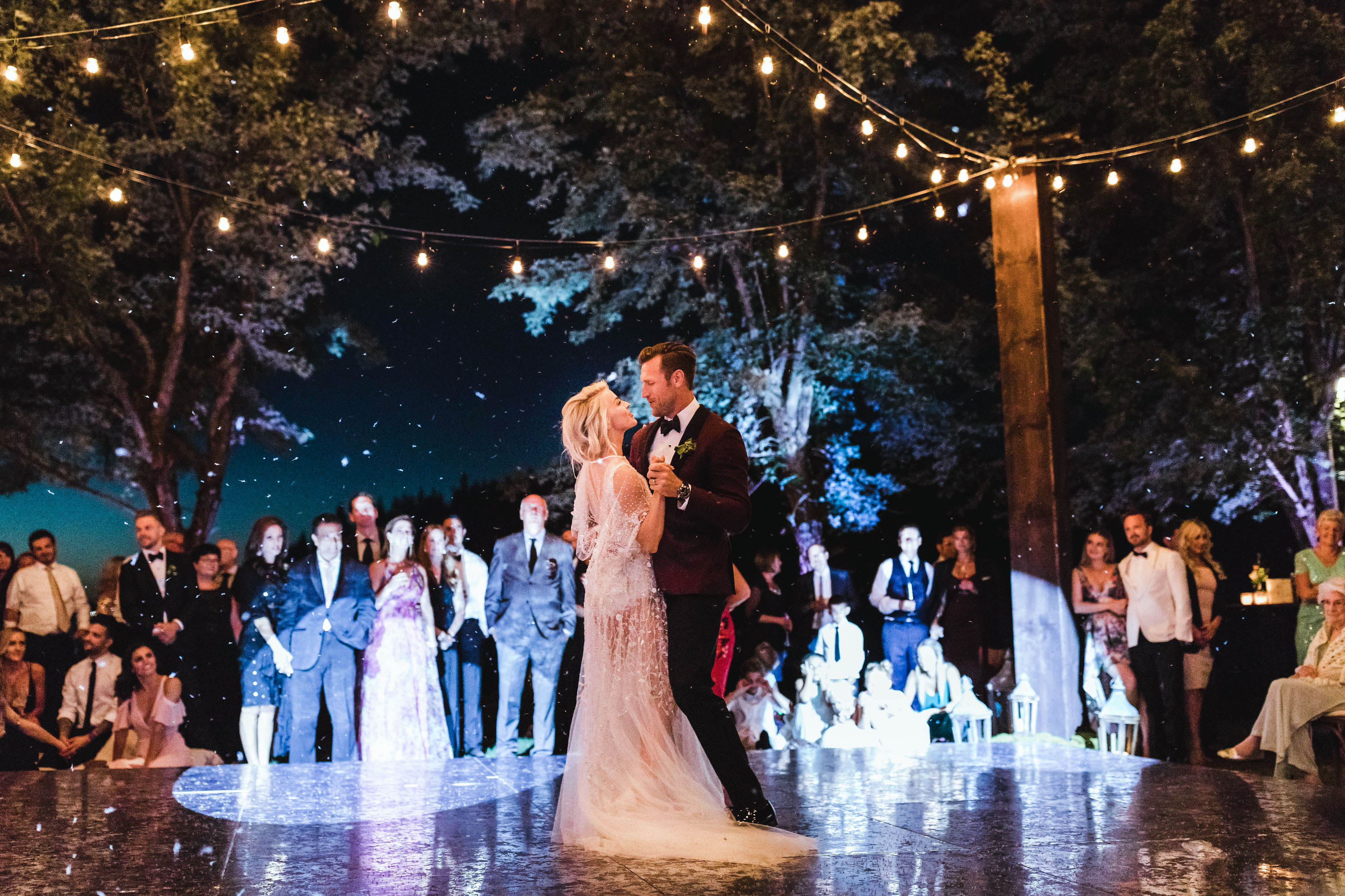 wedding couple first dance on antique mirrored dance floor