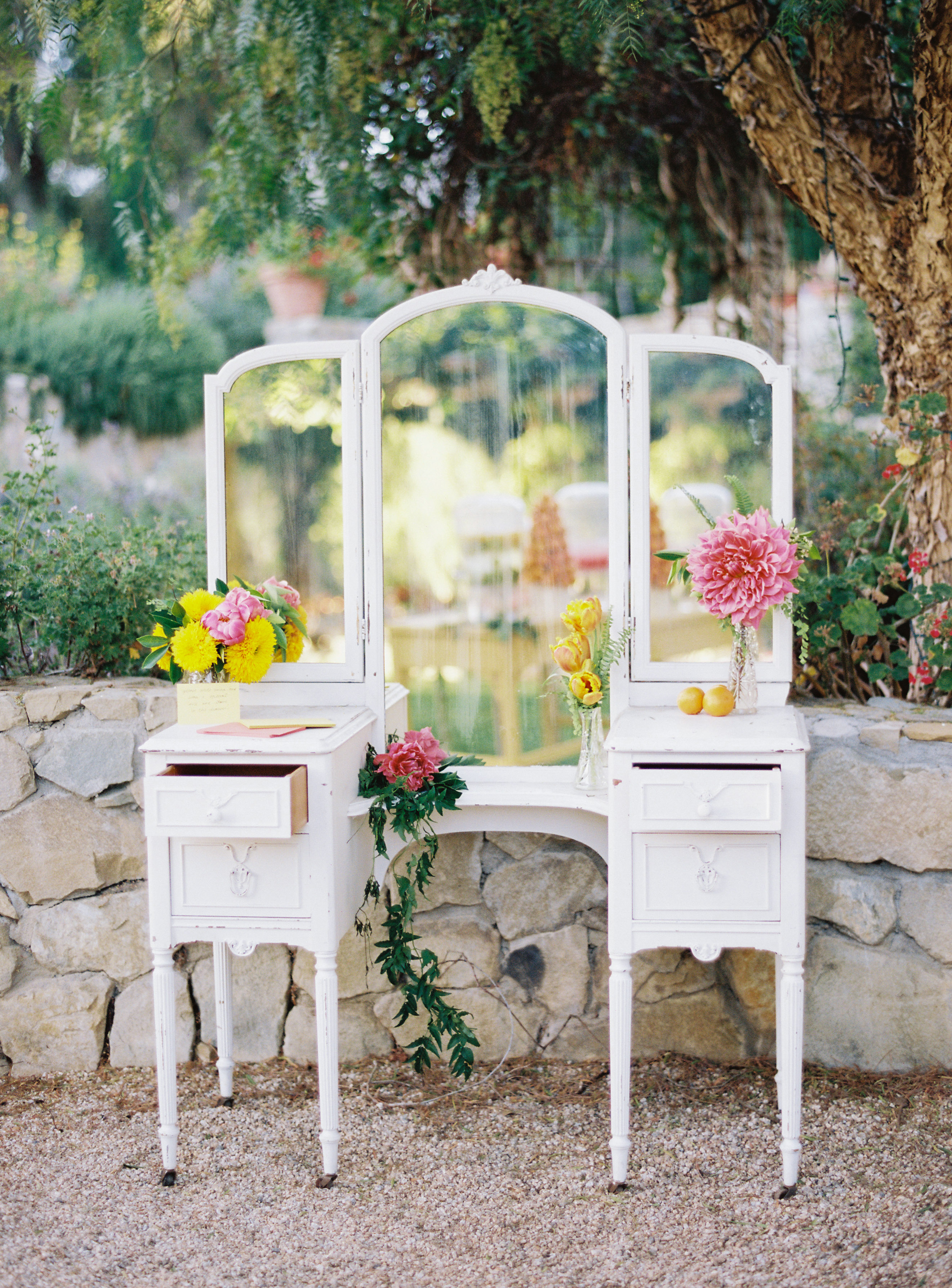 outdoor mirrored antique furniture with flowers for cards