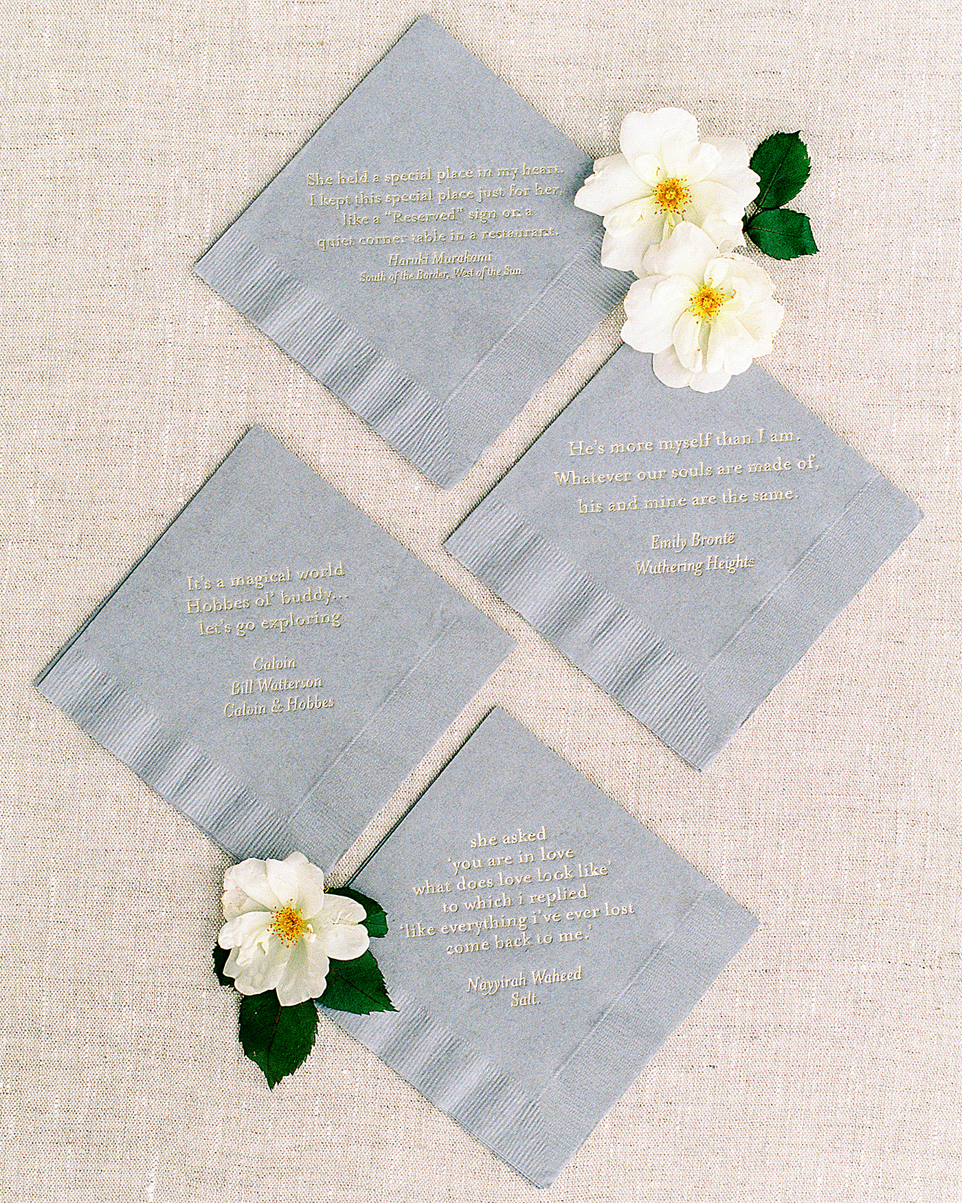 pillar paul wedding napkins with love quotes