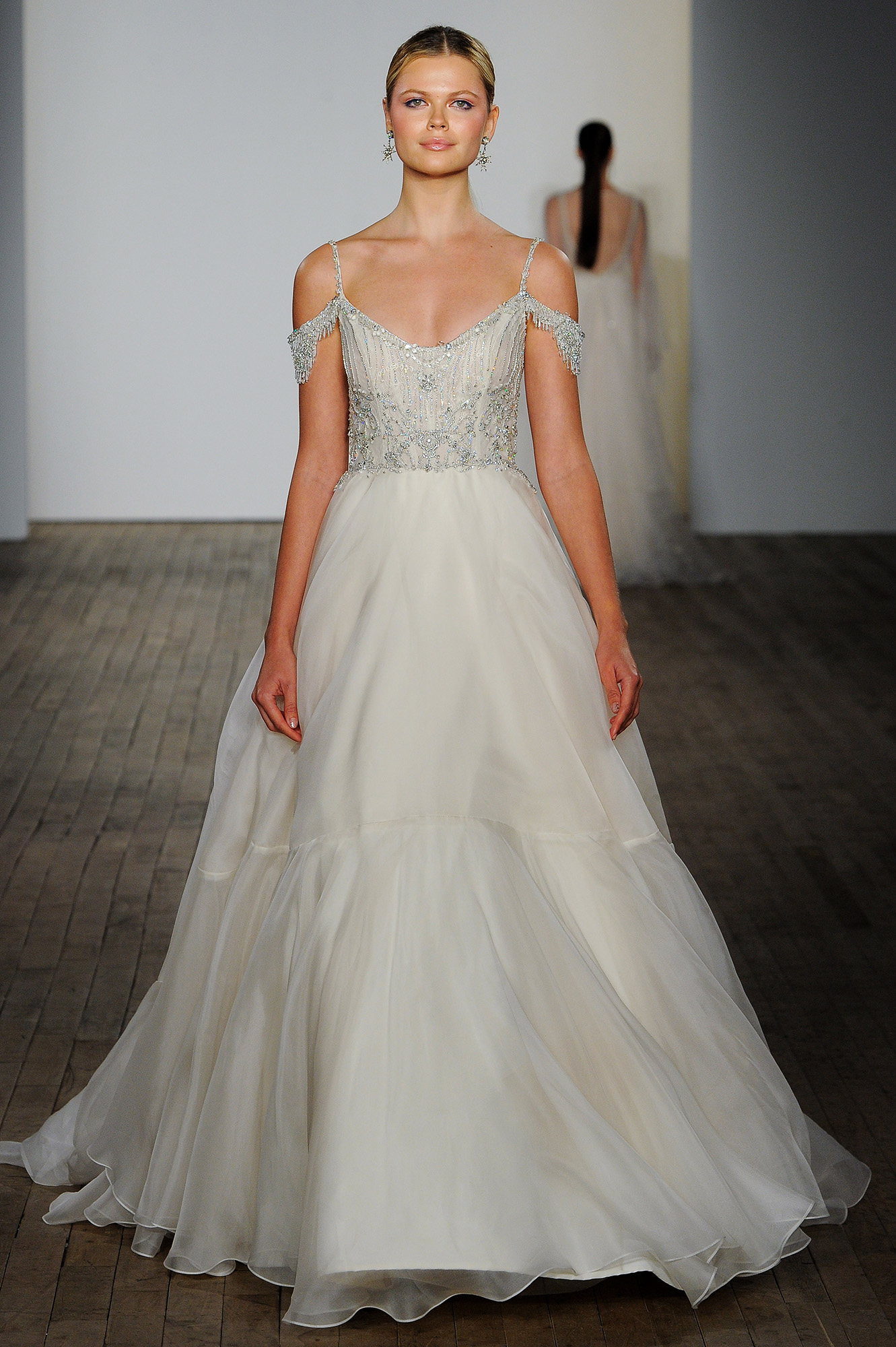 lazaro fall 2019 over the shoulder beaded ball gown wedding dress