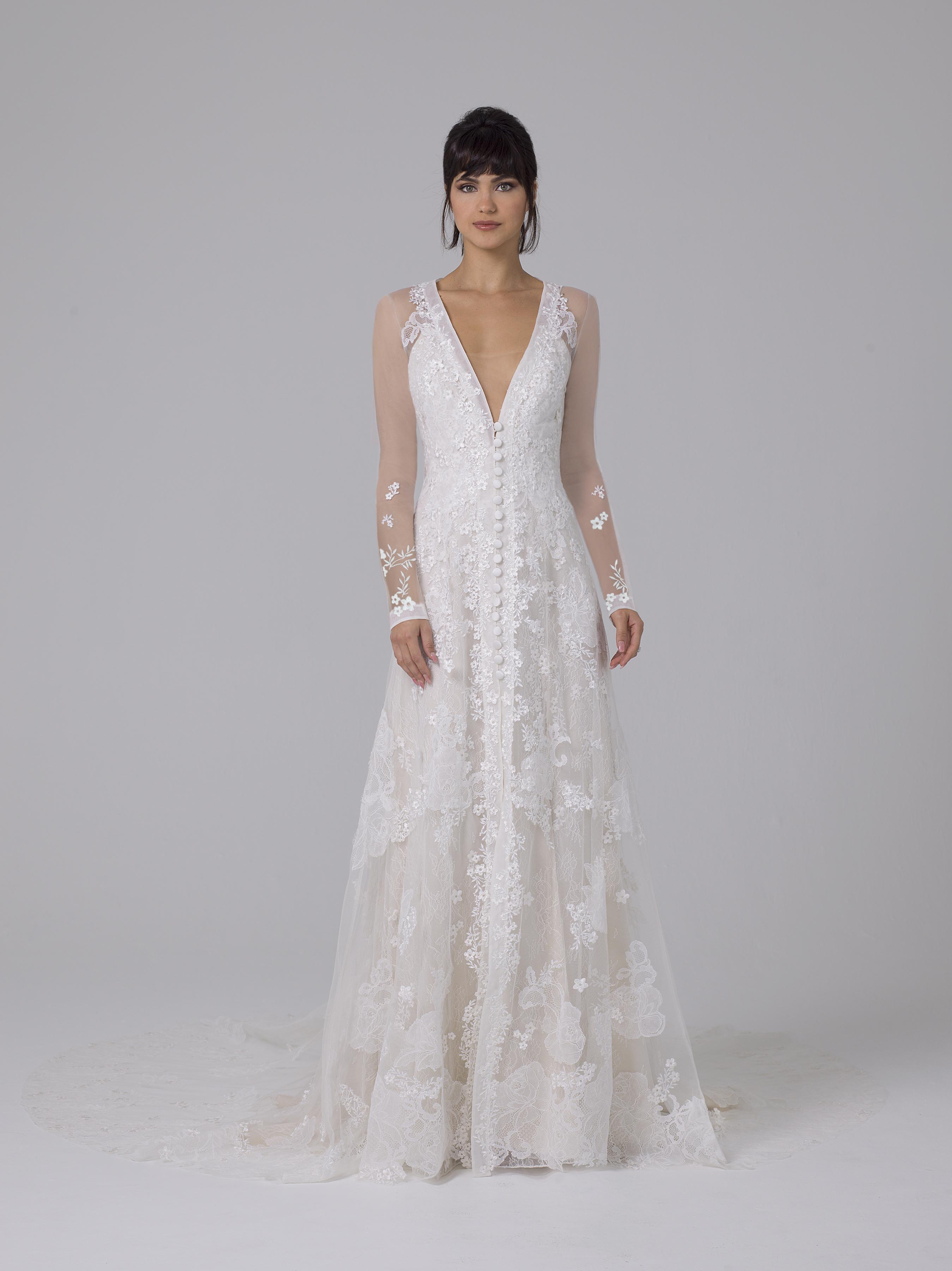 Liancarlo illusion long-sleeve wedding dress fall 2019