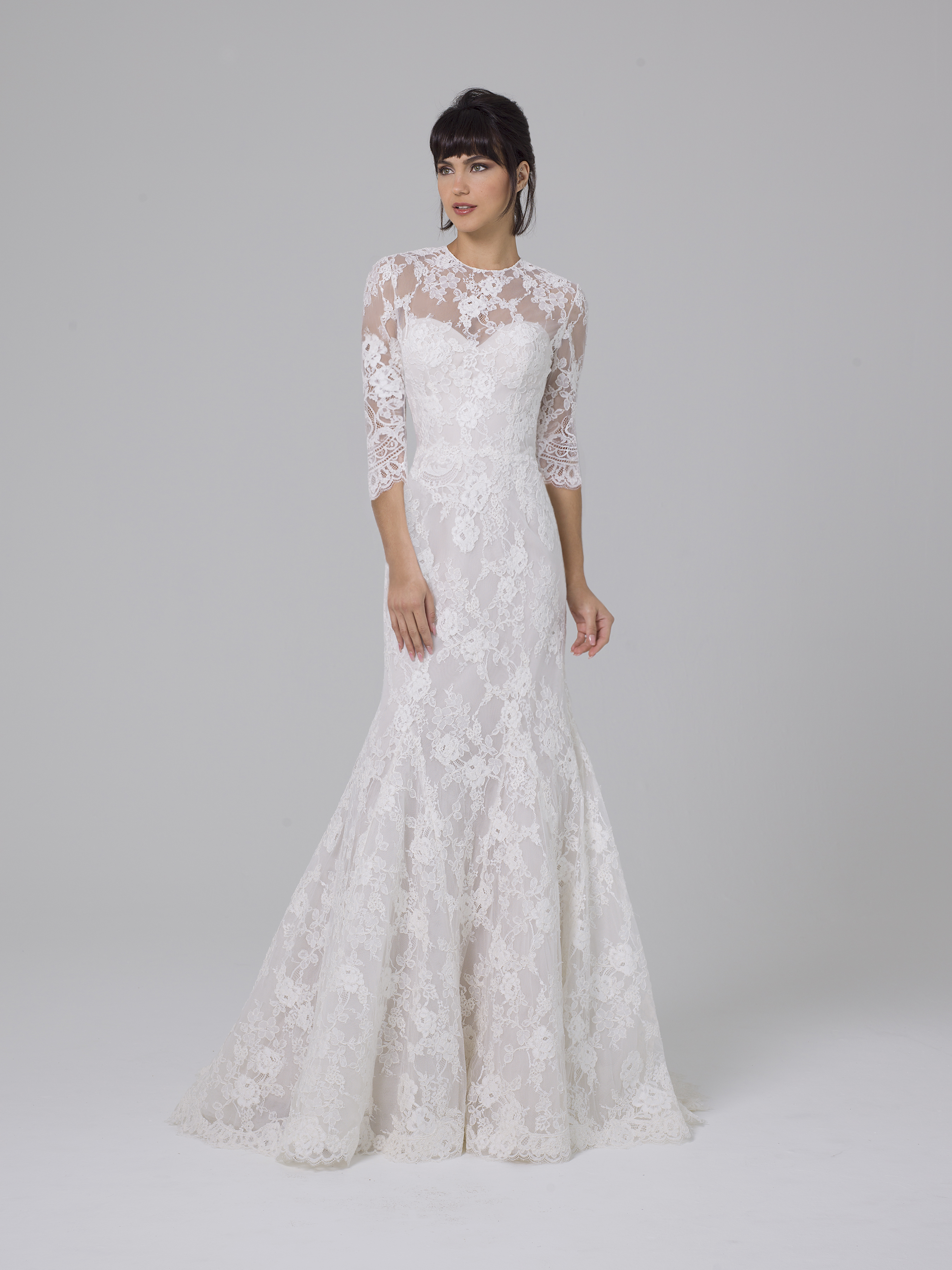 Liancarlo mermaid wedding dress with half sleeves fall 2019