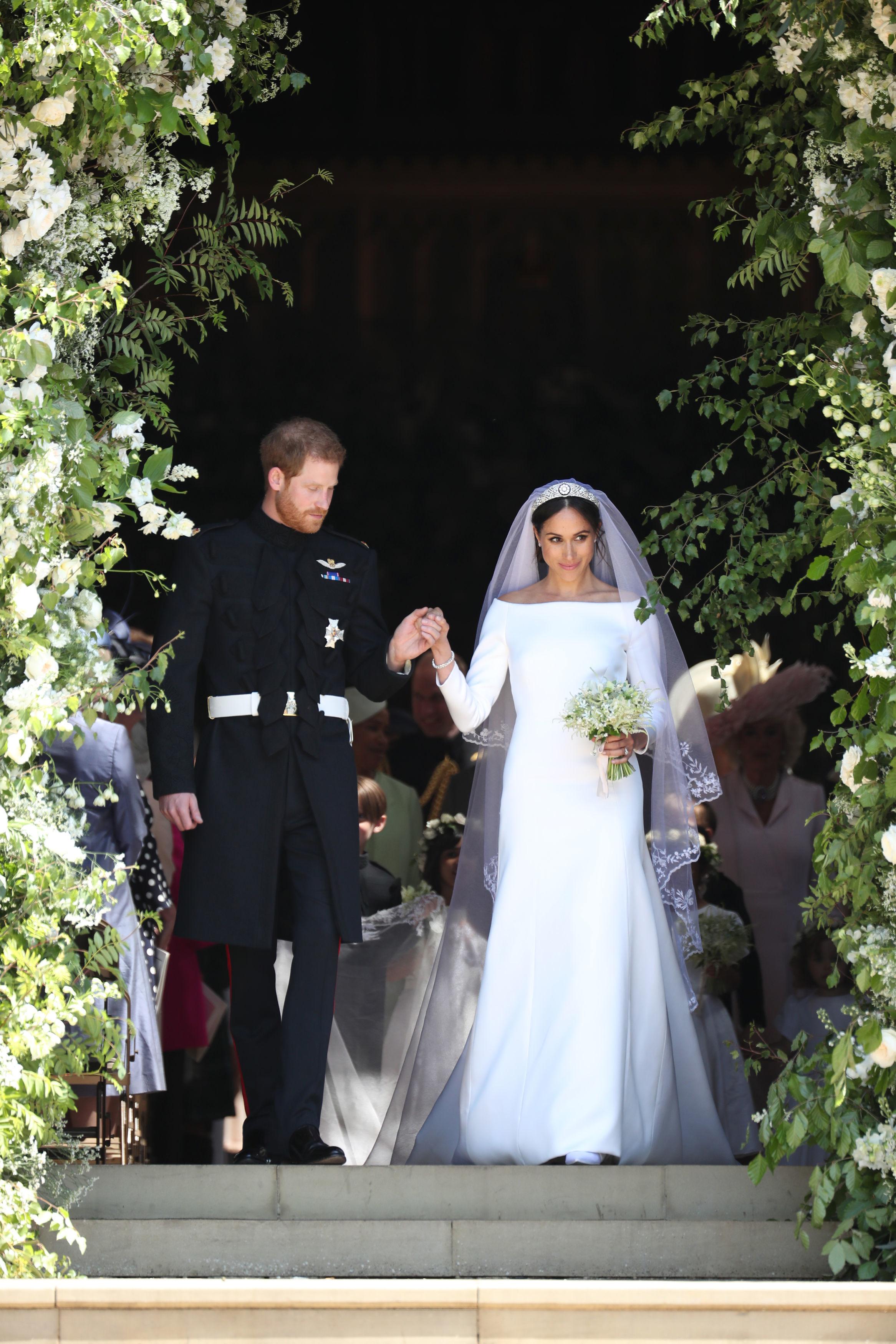 Prince Harry and Meghan Markle Leaving Church