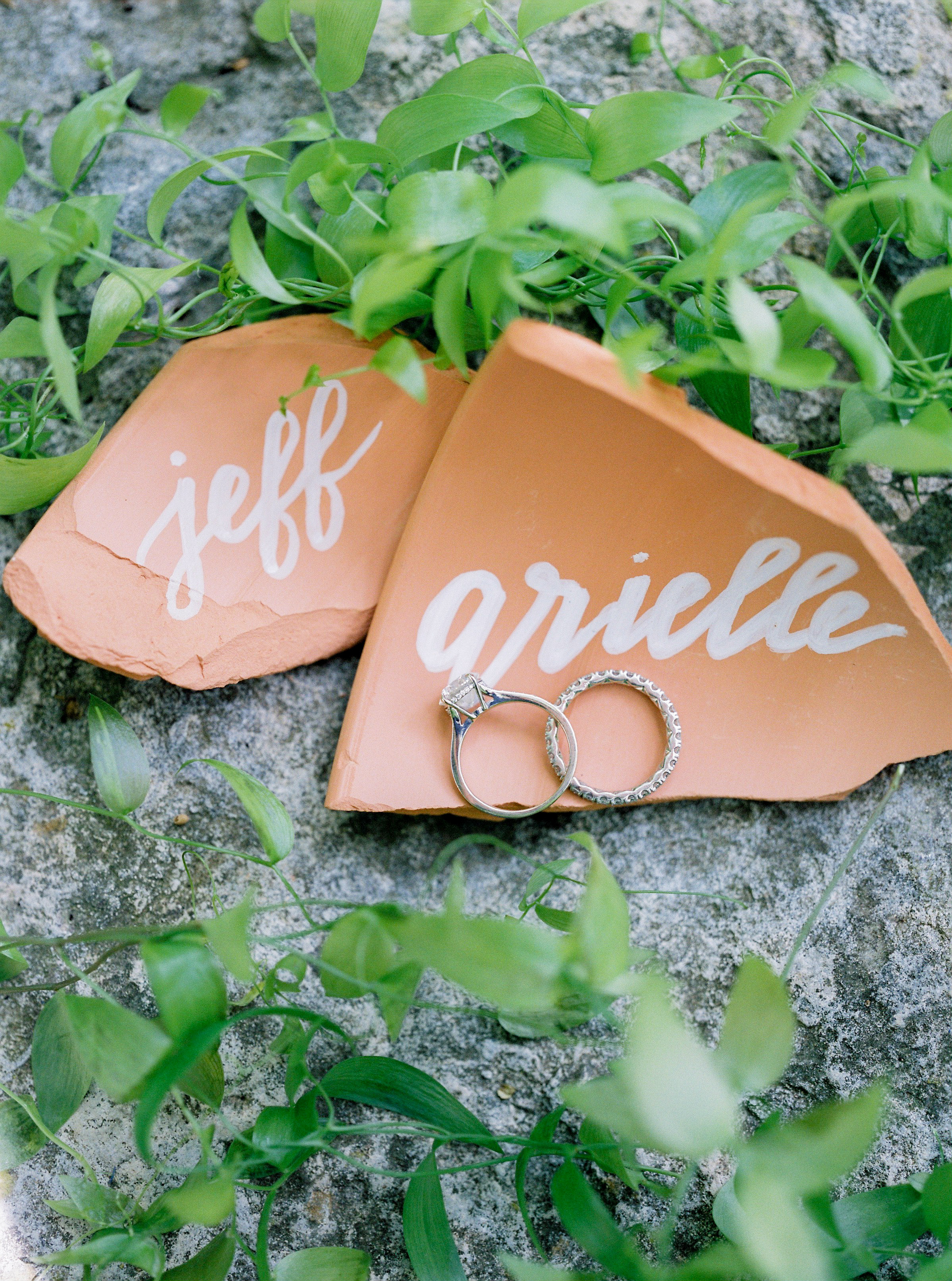 wedding bands with terra cotta stone named pieces