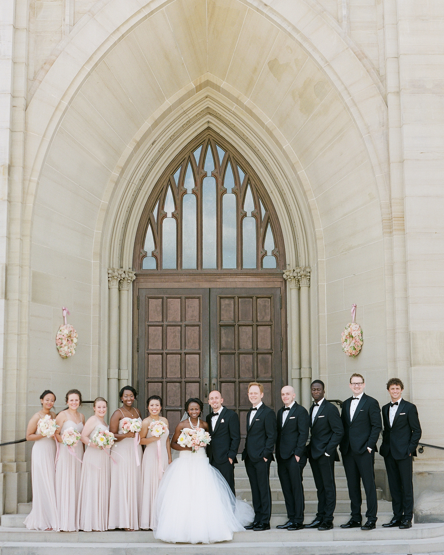 anwuli patrick wedding bridal party in front of church