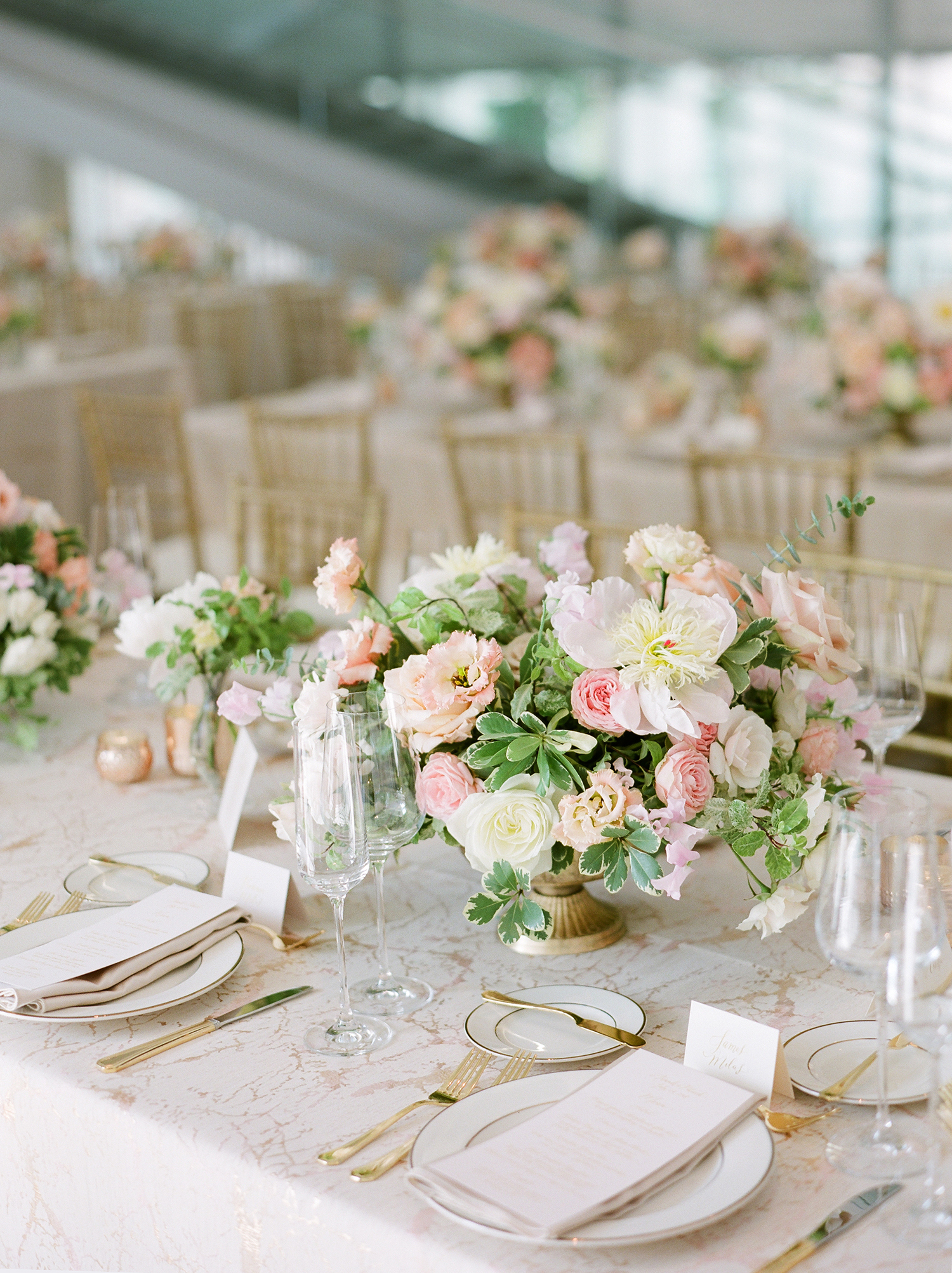 anwuli patrick wedding pastel centerpieces on table