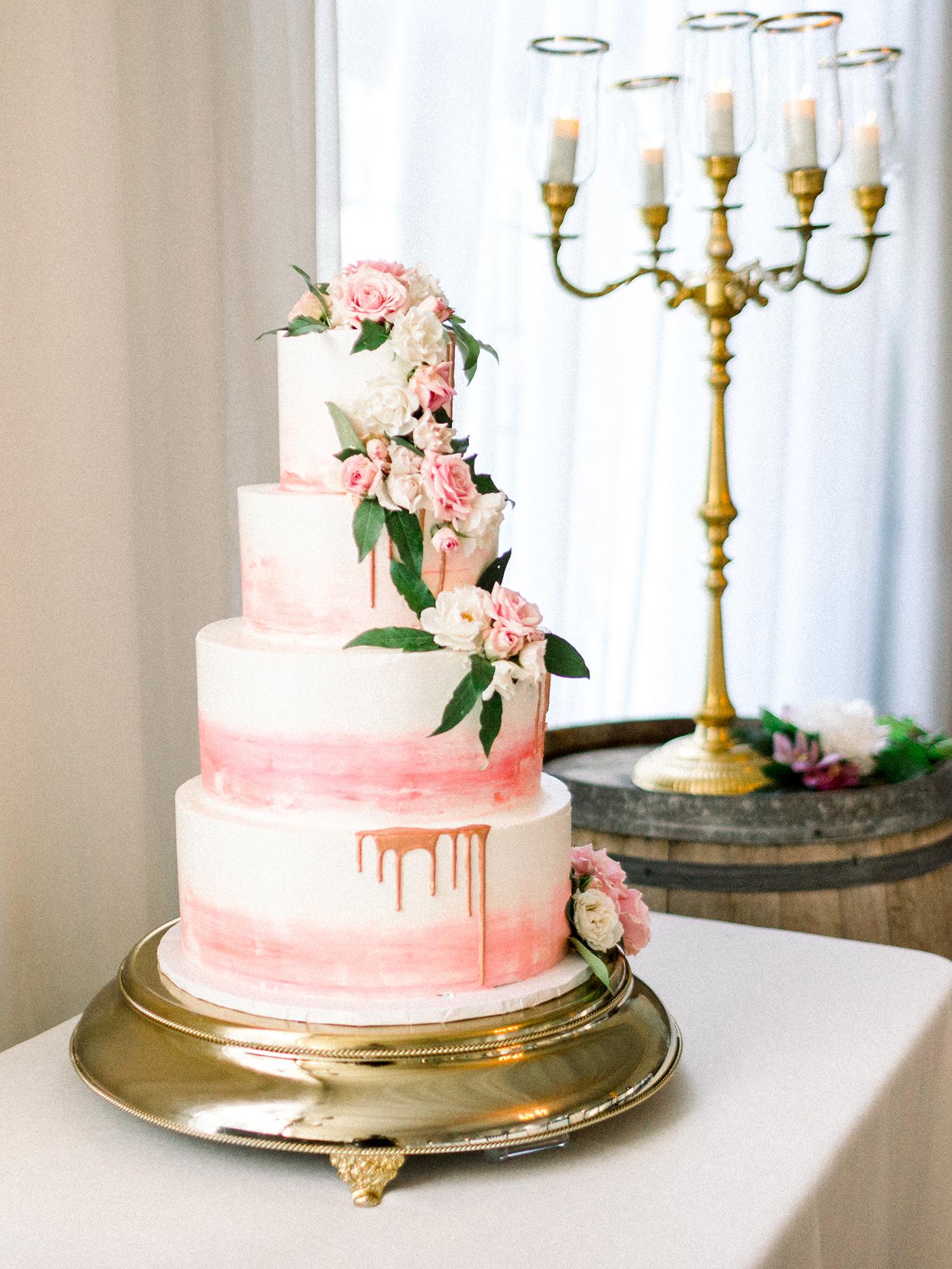 dawn rich wedding pink drip cake