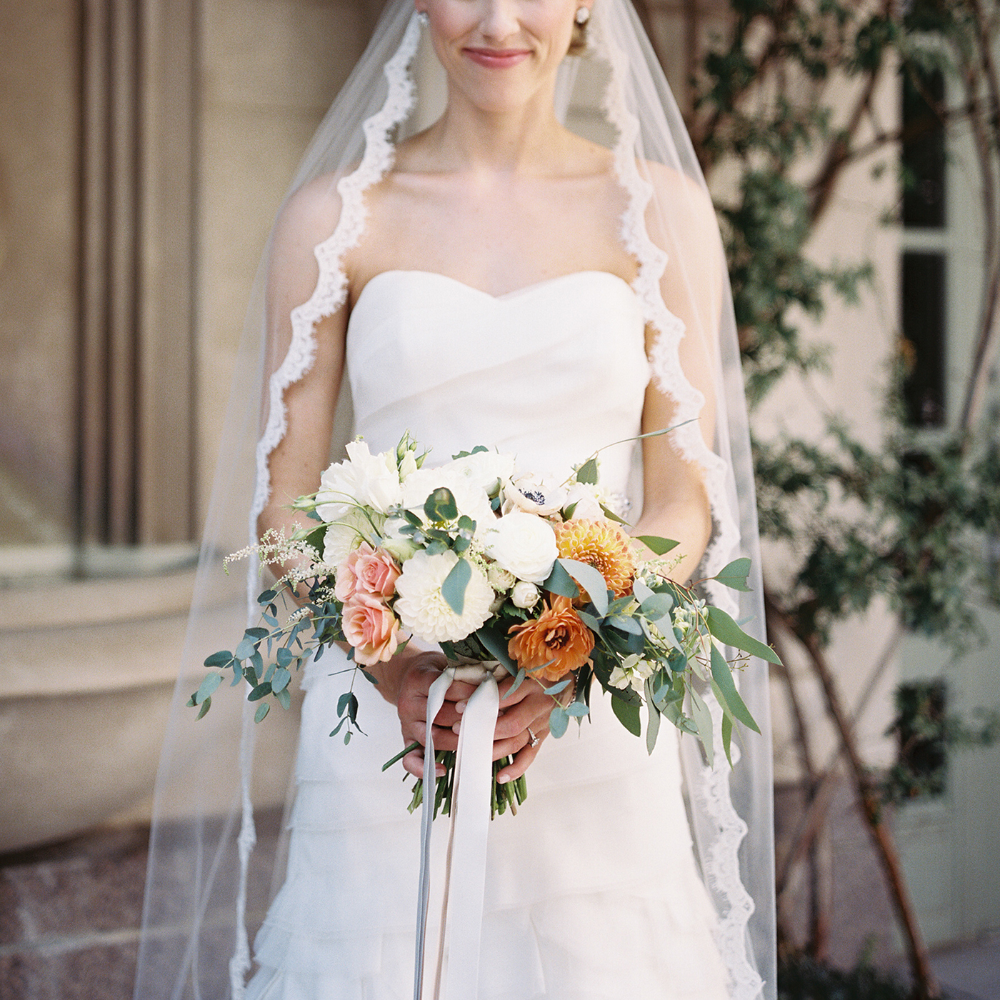 scalloped wedding decor bride with lace veil