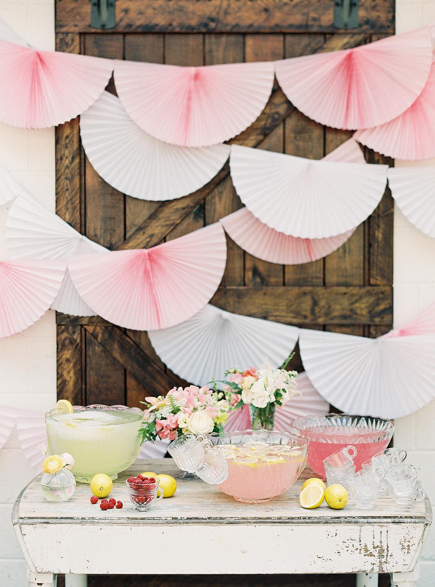 scalloped wedding decor pink fan backdrop drink table