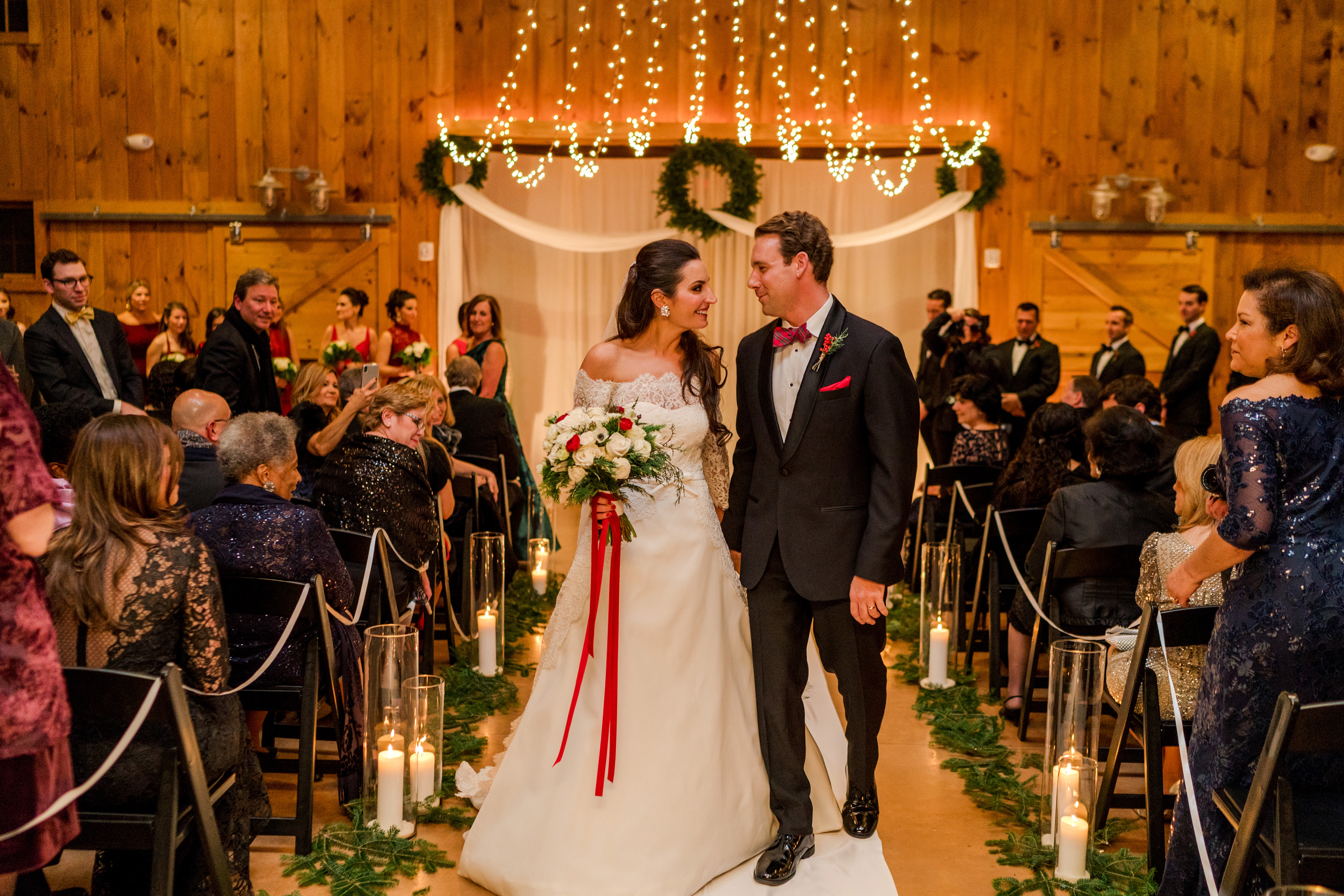 lauren christian christmas wedding recessional couple
