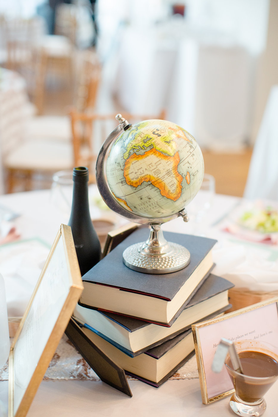 small globe on stack of books