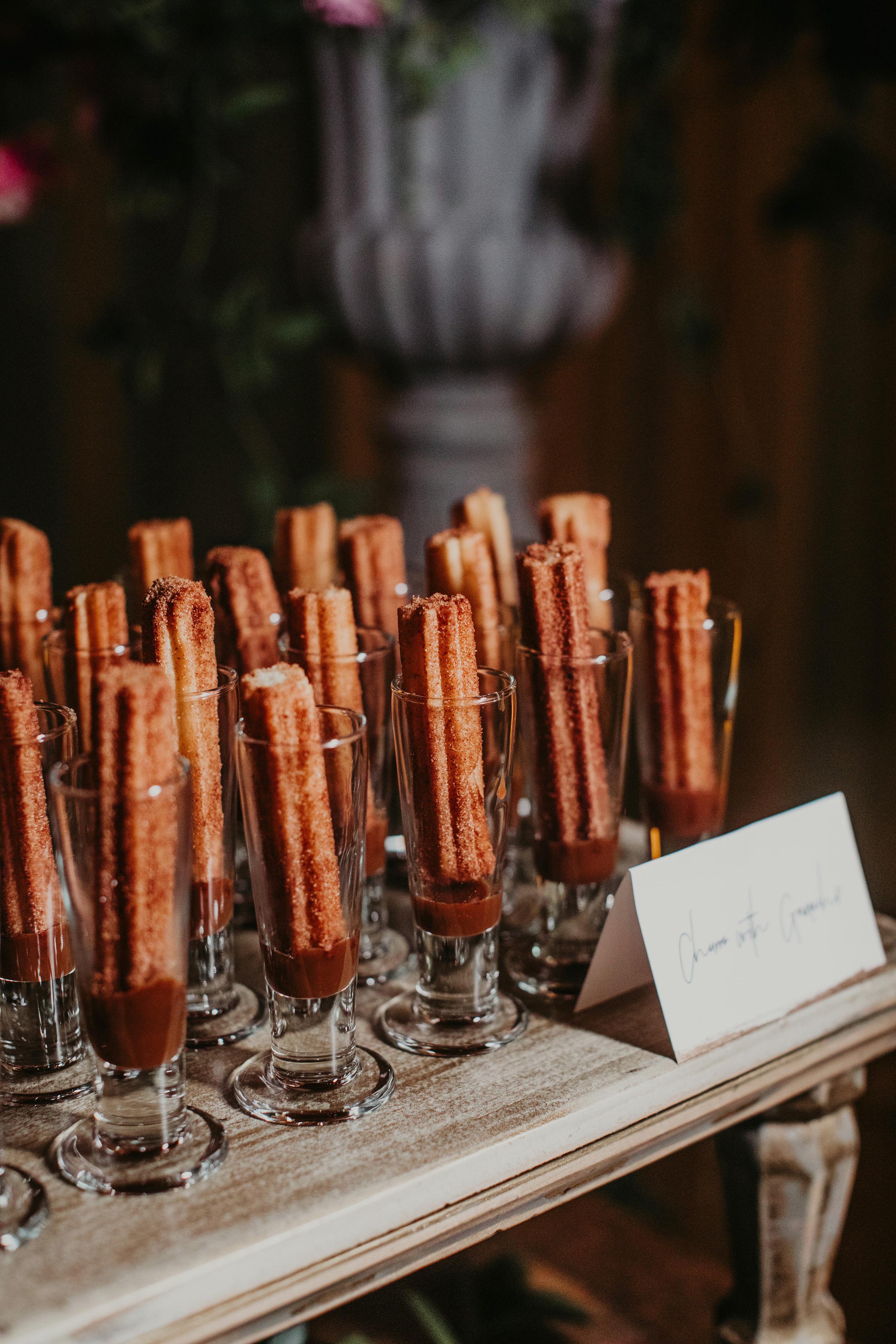 wedding desserts churros with ganache