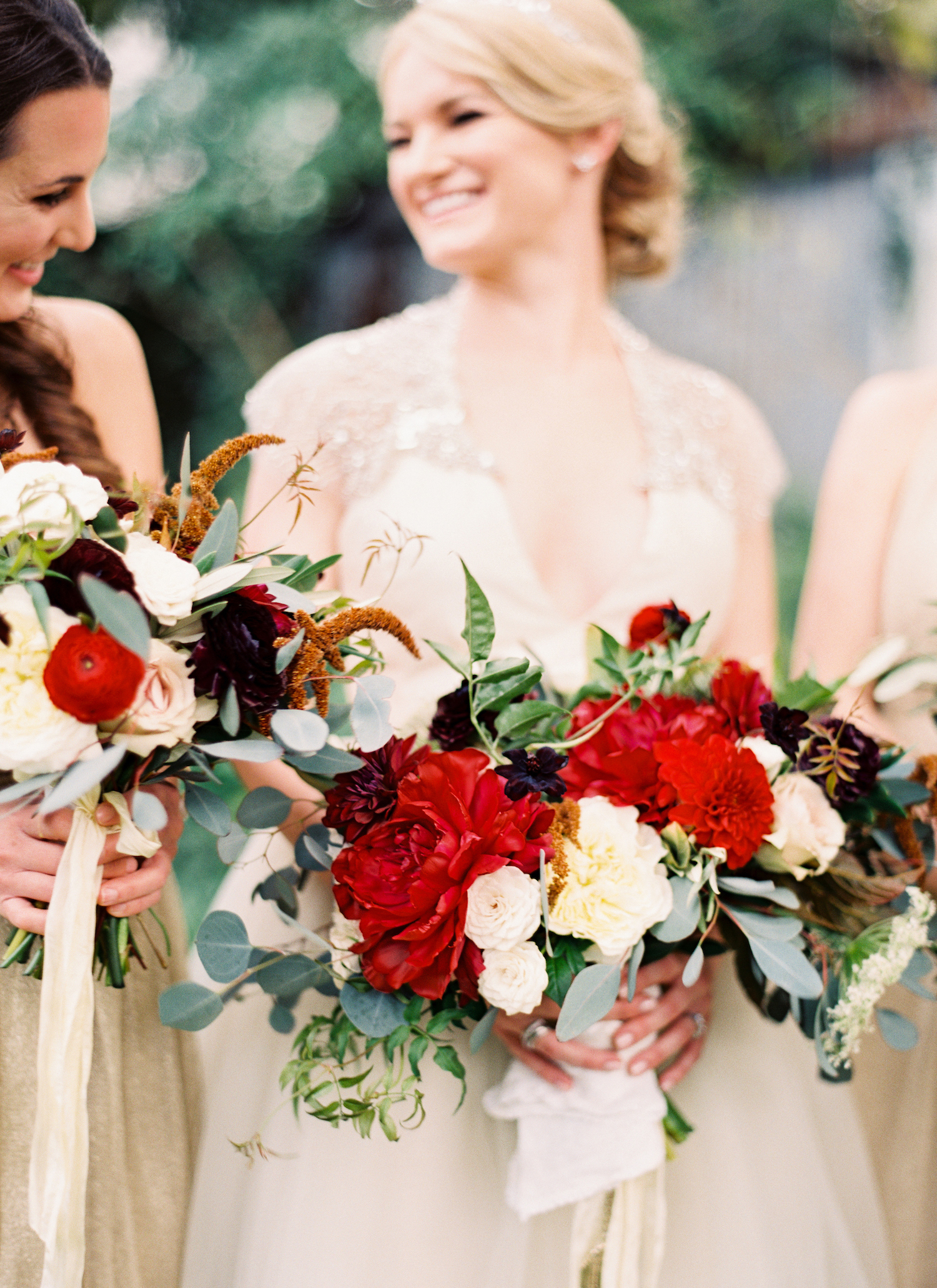 red bridesmaid bouquets