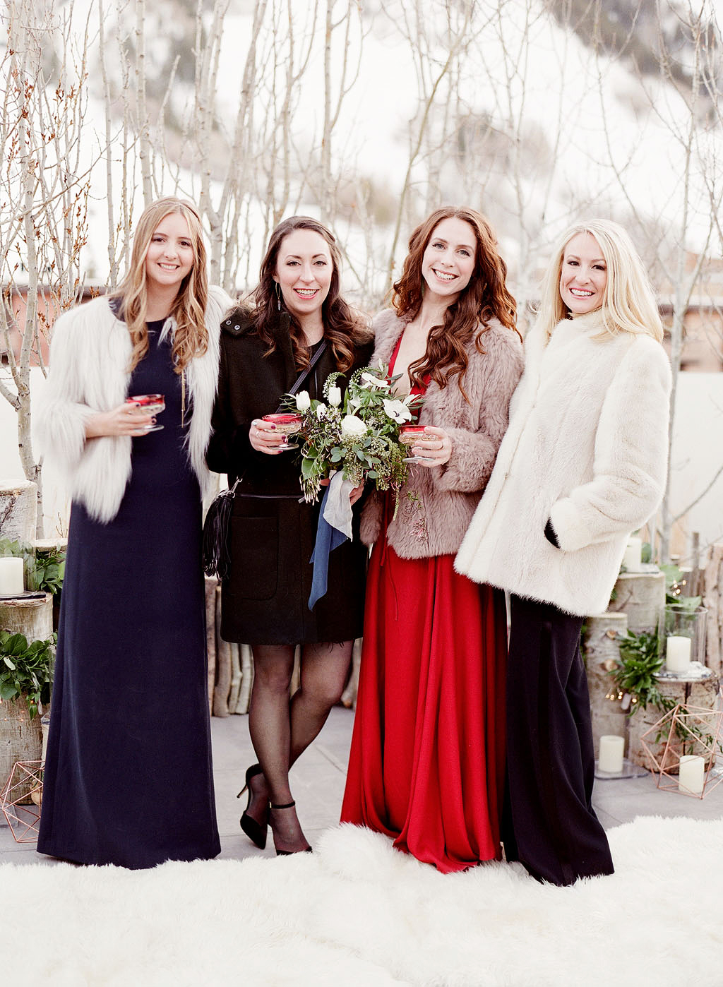 wedding guests in snow