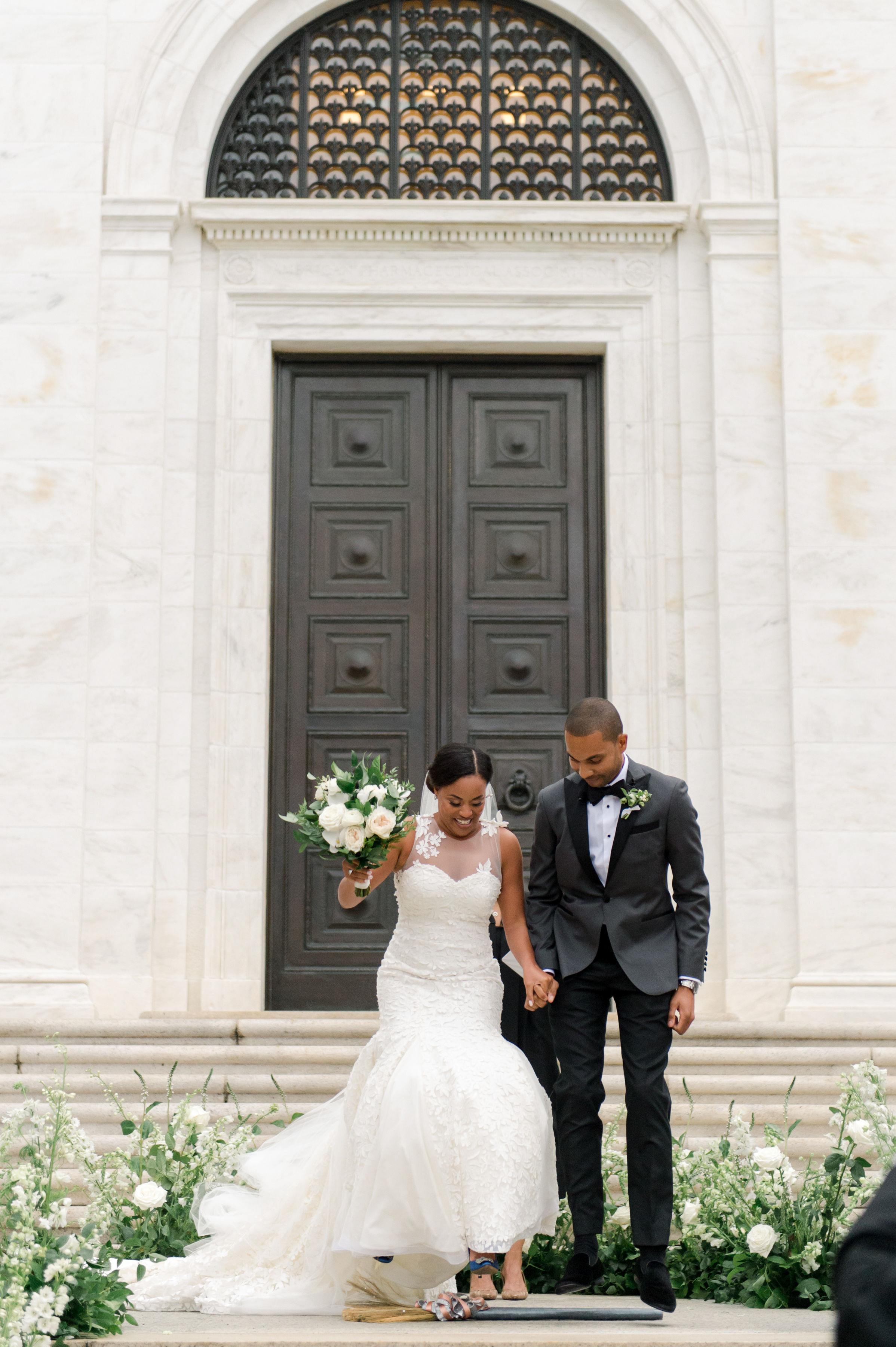 melissa justen wedding ceremony bride groom and broom