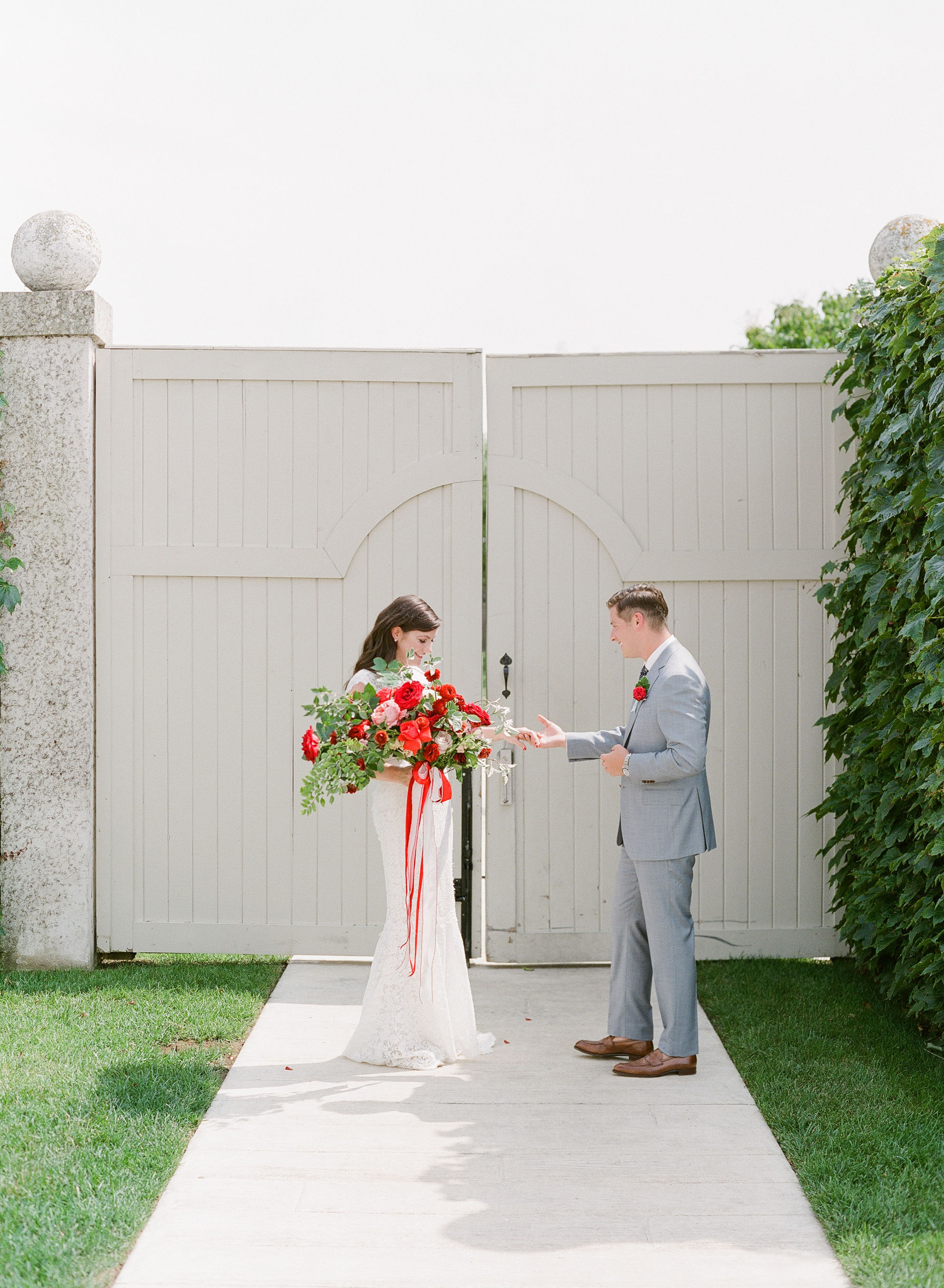 colleen stephen newport wedding first look outside of gate