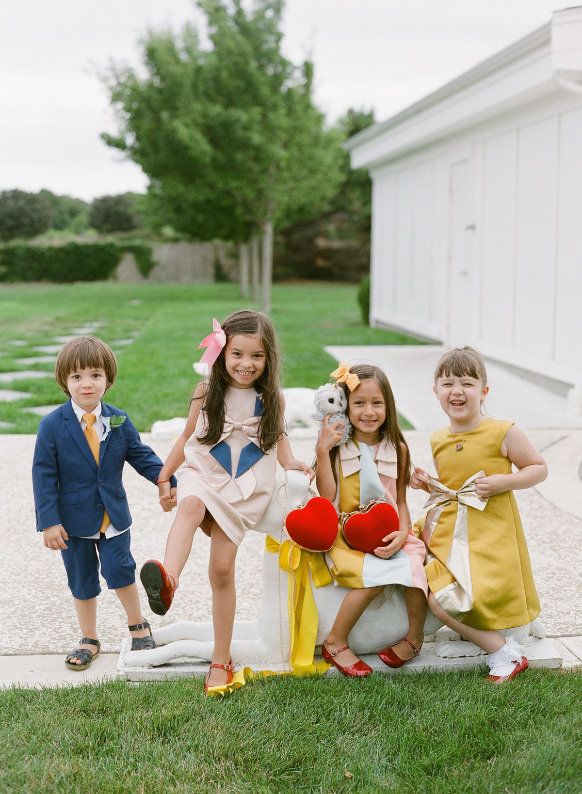 colleen stephen newport wedding kids with heart shaped purses